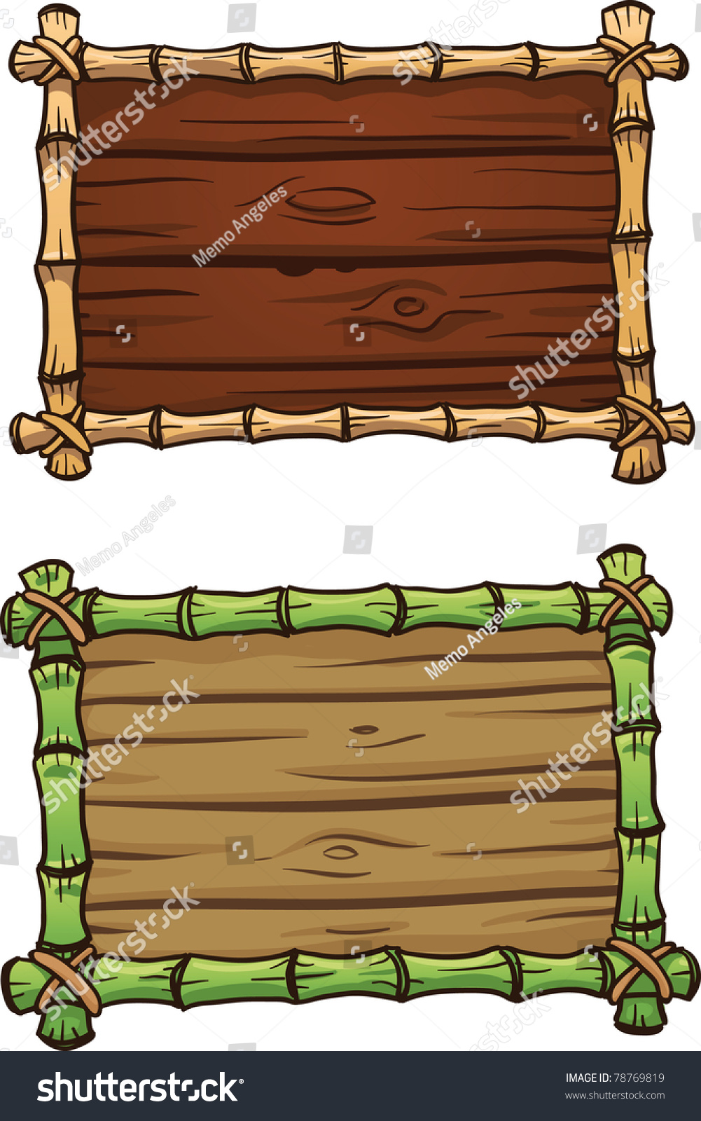 Two cartoon bamboo frames both in separate layers for