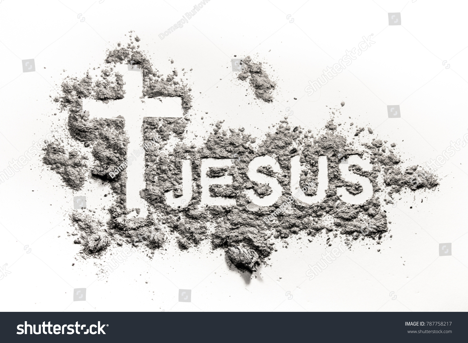 Word jesus christian cross crucifix made stock photo 787758217 word jesus and christian cross or crucifix made in ash as lent ash wednesday buycottarizona Choice Image