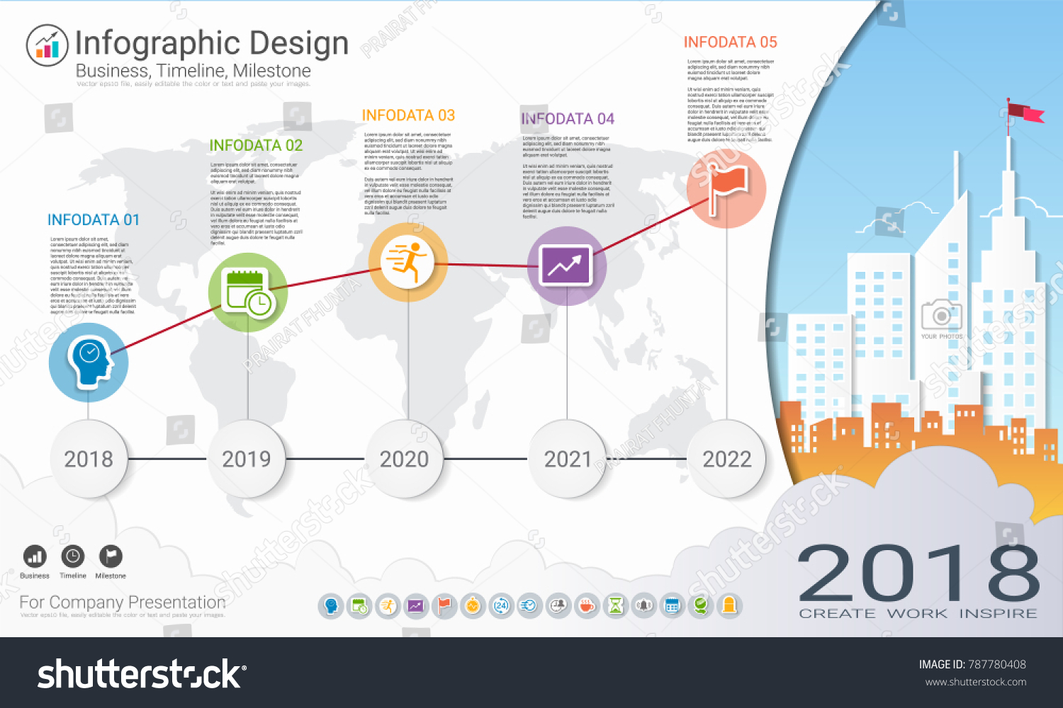Business Infographics Template Milestone Timeline Road Stock Vector Process Flow Diagram Infographic For Powerpoint Or Map With Flowchart 5 Options Strategic