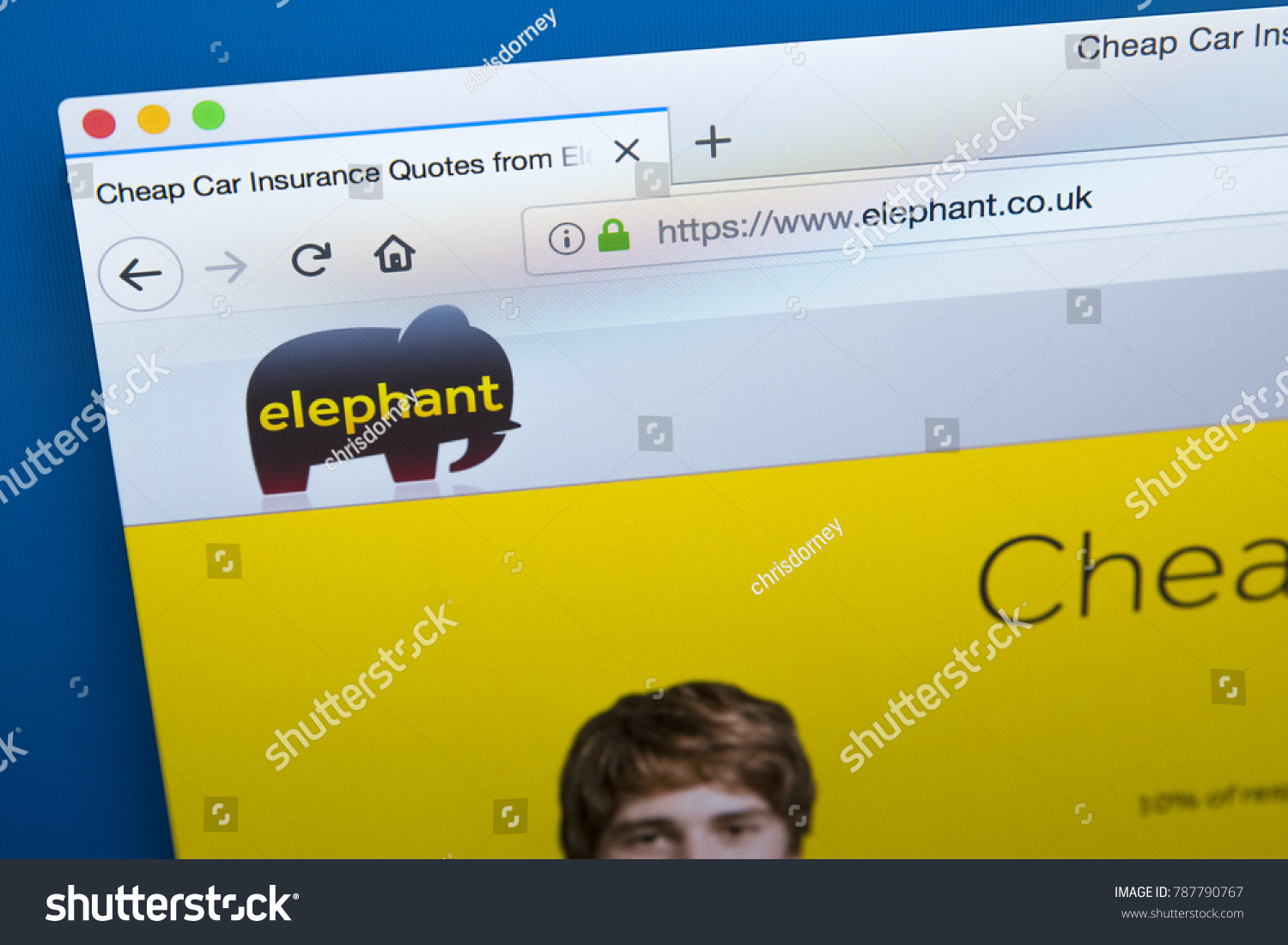 Elephant Auto Insurance Quote London Uk January 4Th 2018 Homepage Stock Photo 787790767