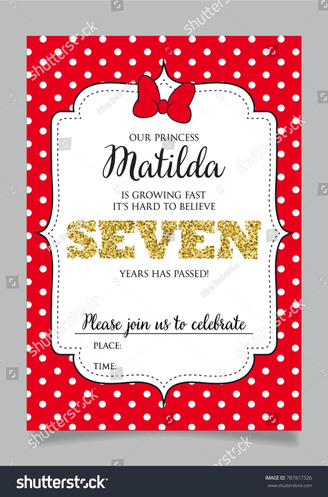 Seventh Birthday Invitation Girl Seven Years Stock Vector Royalty