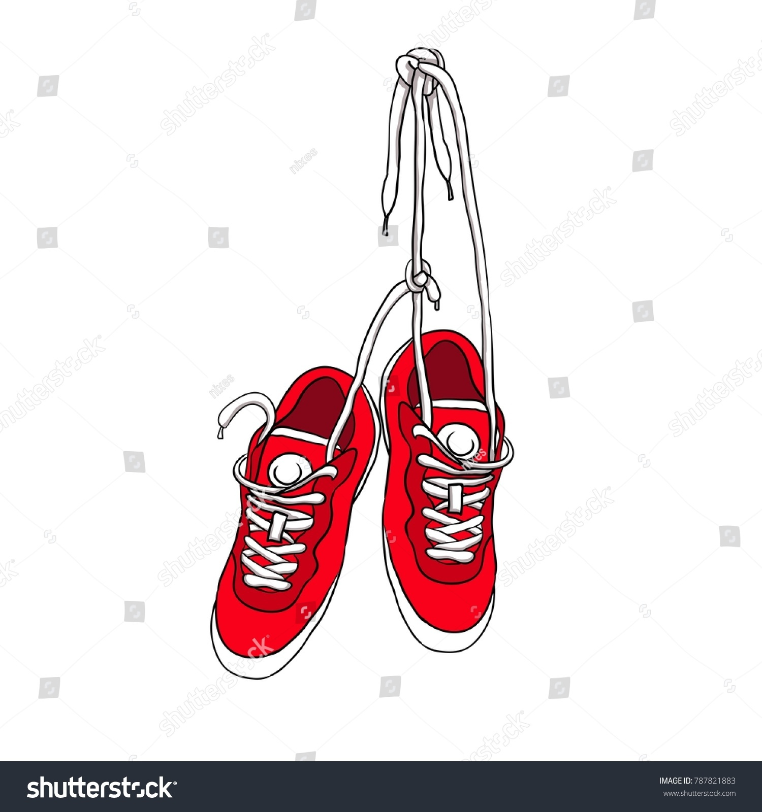 Sports Red Sneakers Hang Tied Laces Stock Vector 787821883 ...