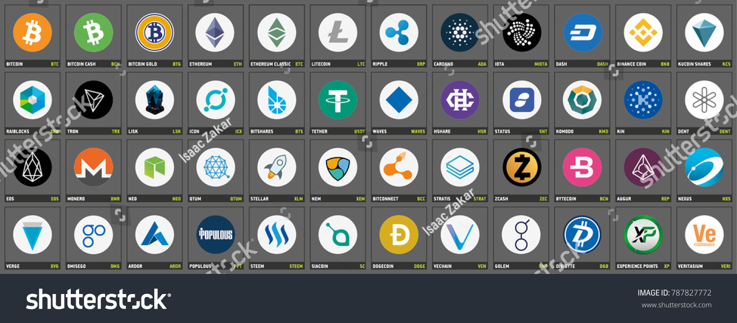 Vector Cryptocurrency Icons Symbols On Dark Stock Vector 787827772 ...