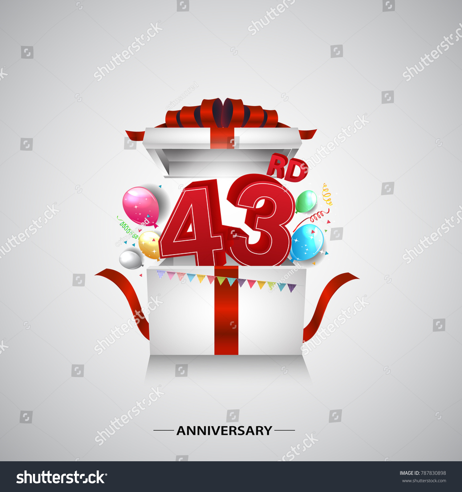43rd Anniversary Design Red Number Inside Stock Vector Royalty Free