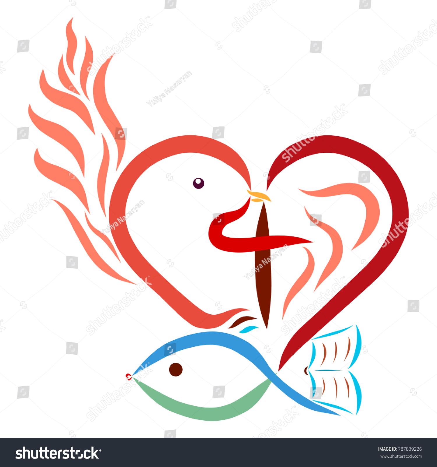 Christian symbolism heart cross dove fish stock illustration christian symbolism heart cross dove fish flame bible buycottarizona
