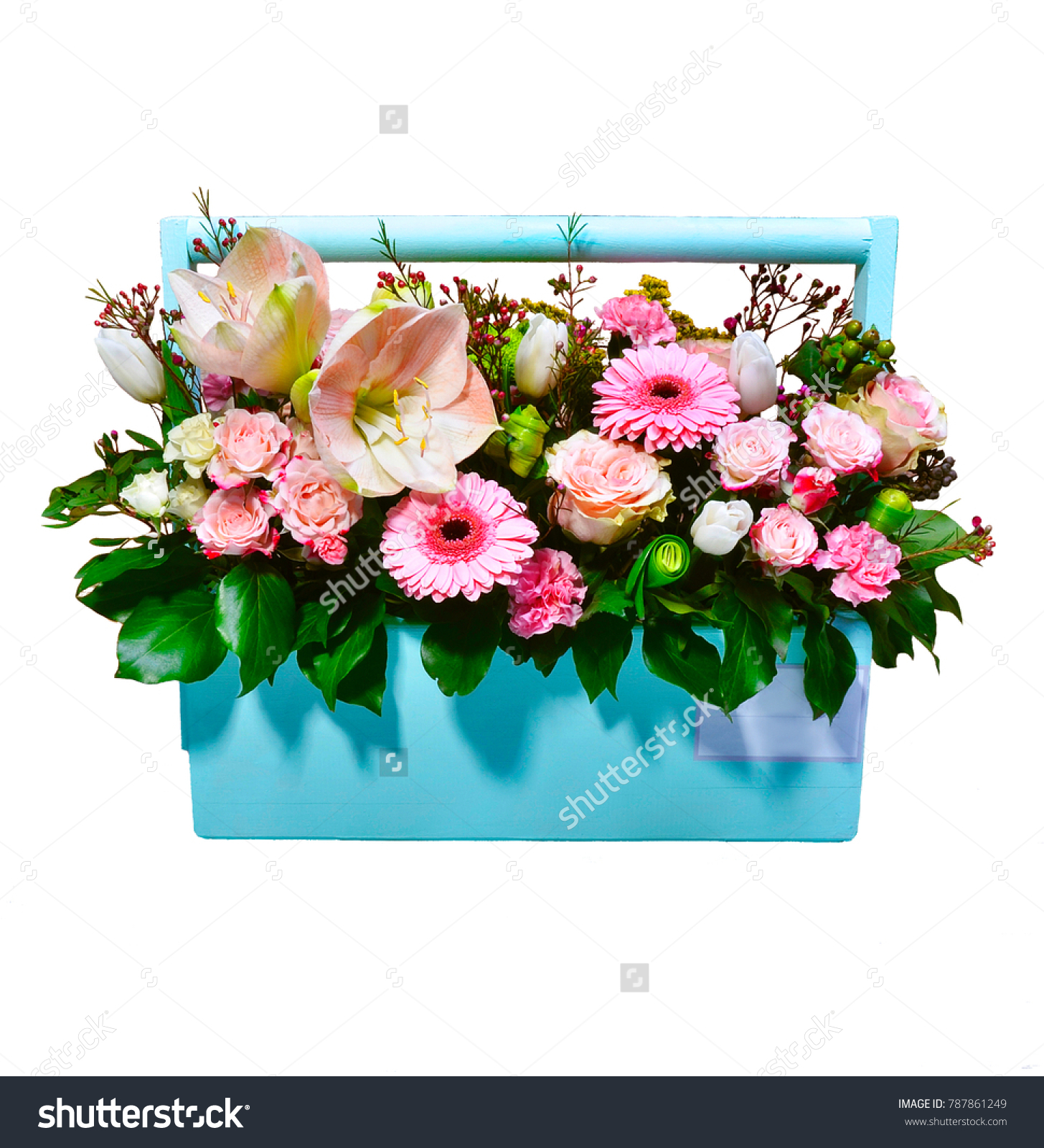 Bouquet Flowers Wooden Box On White Stock Photo Edit Now 787861249