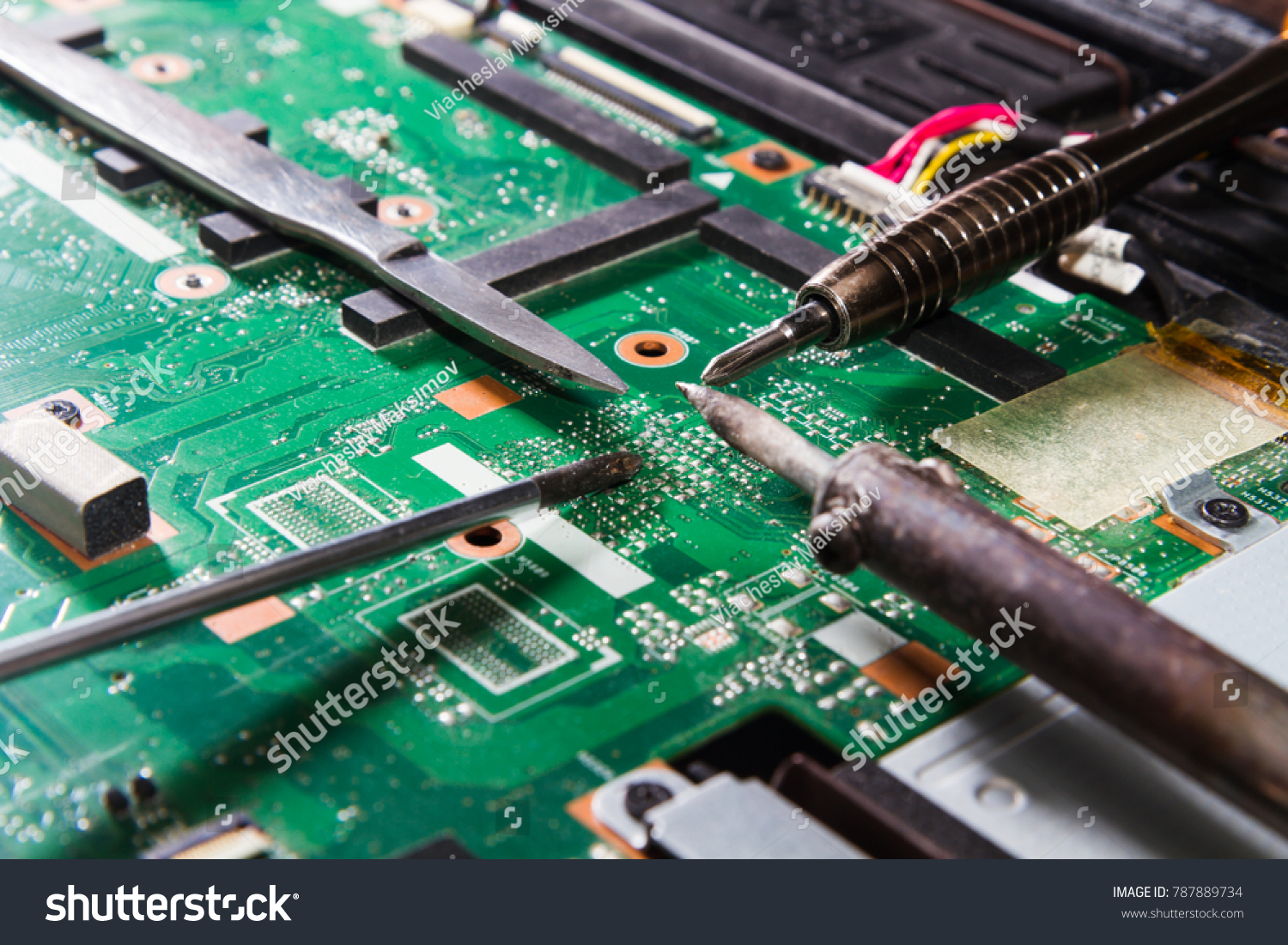 Printed Circuit Board Tools Green Screwdriver Stock Photo Edit Now Photos Images Pictures Shutterstock With Soldering Iron Knife Close Up