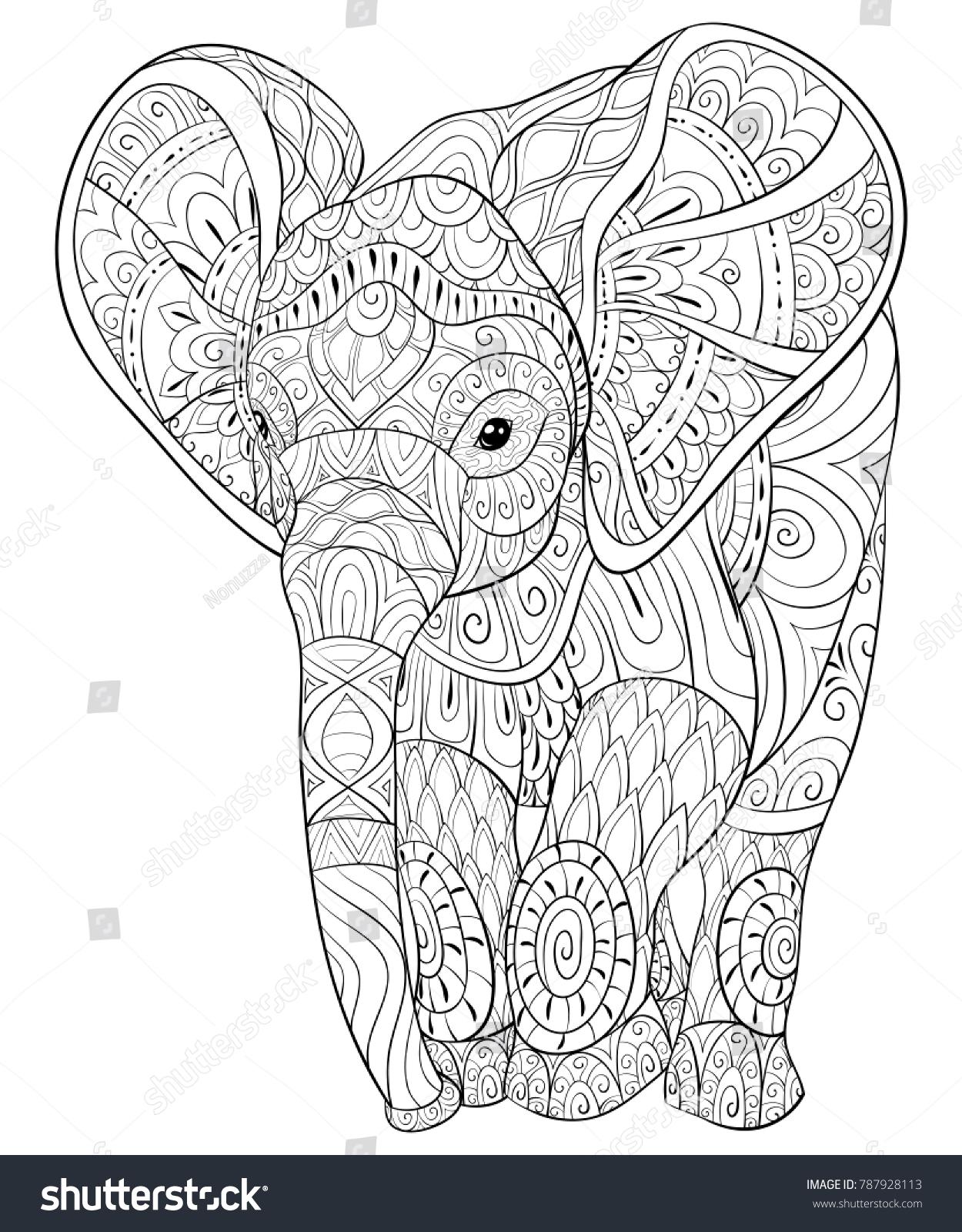 Adult Coloring Bookpage Elephantimage Relaxing Zen Stock Vector ...