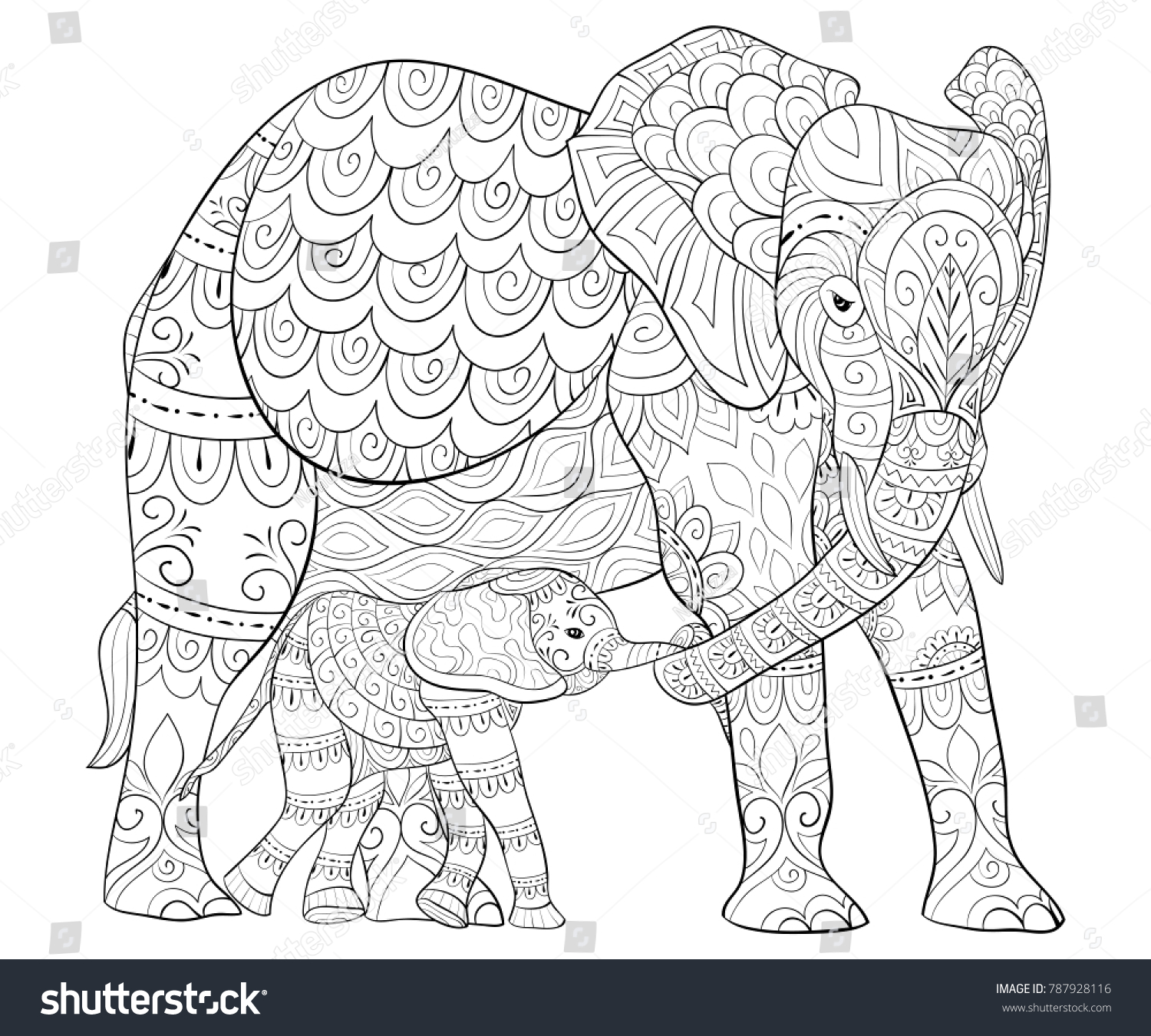 Adult Coloring Bookpage A Mother Elephant With Her Babyimage For Relaxing