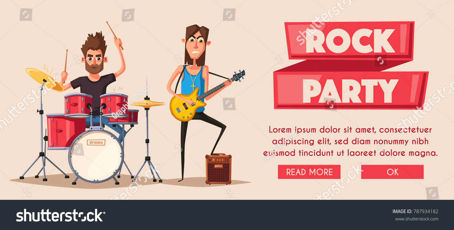 Royalty Free Stock Illustration of Rock Music Poster Old School