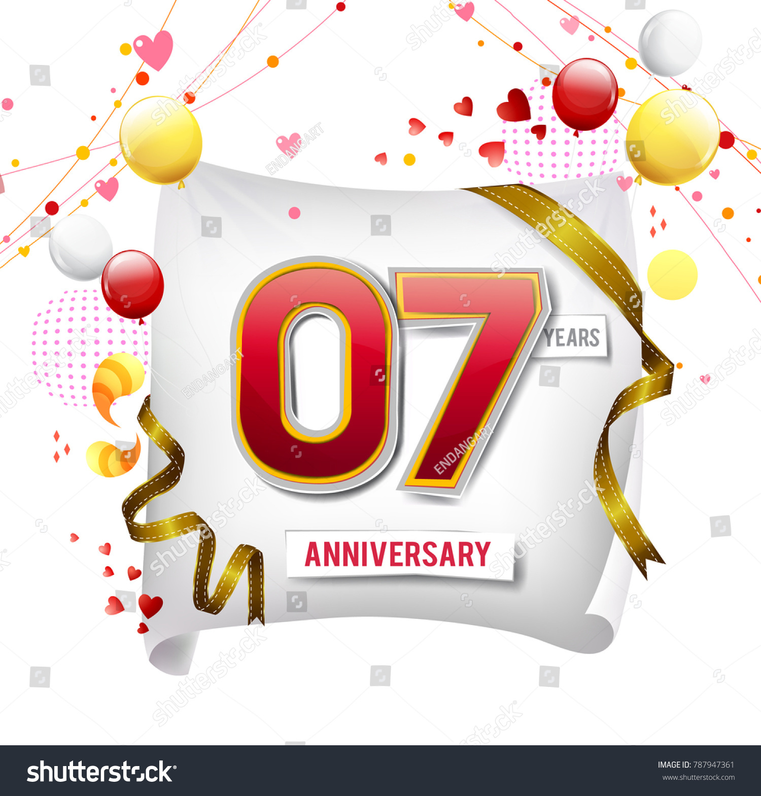 7 Years Anniversary Vector Illustration Banner Stock Vector (2018 ...
