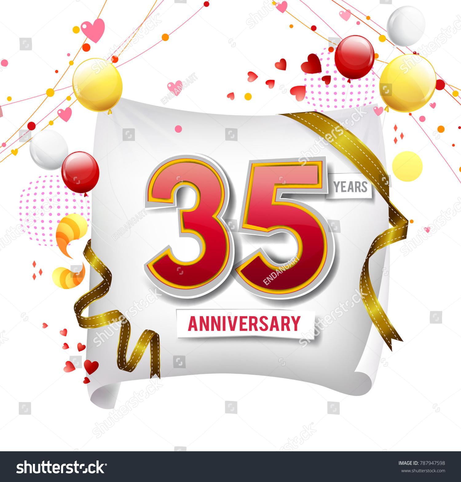 35 Years Anniversary Vector Illustration Banner Stock Vector