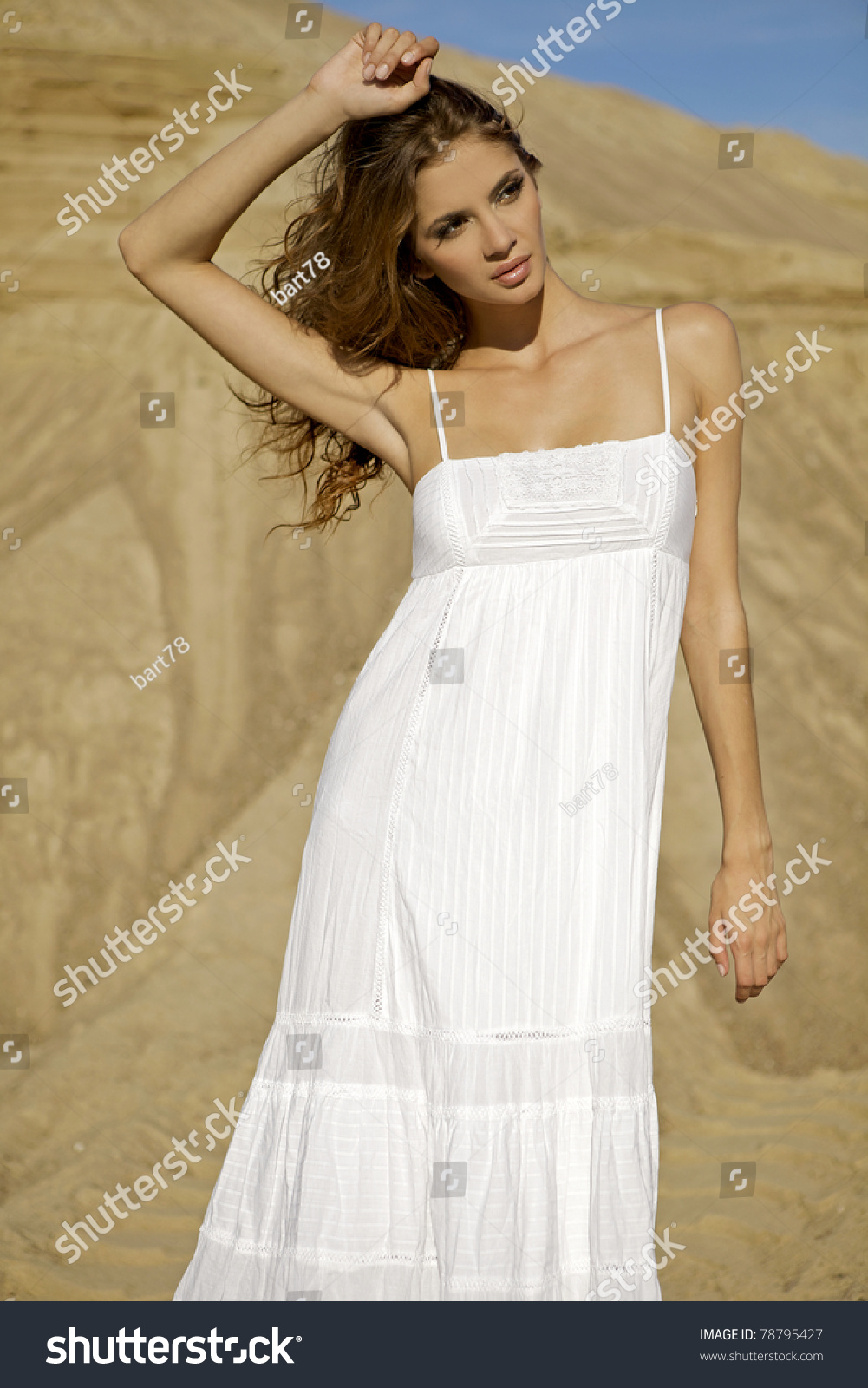 Beautiful Sensuality Teen Girl With Long Hair: Beautiful Sensuality Brunette Girl In White Dress Over
