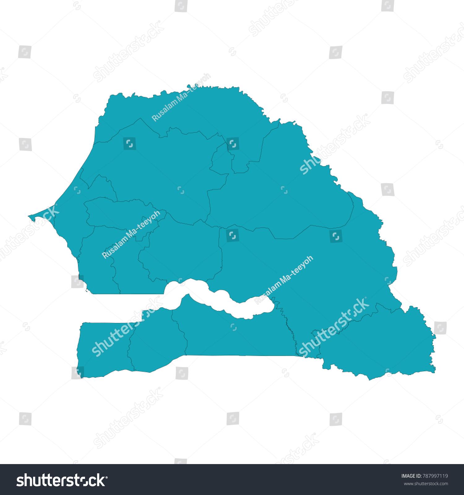 Map Senegal Map Country Senegal High Stock Vector - Senegal map