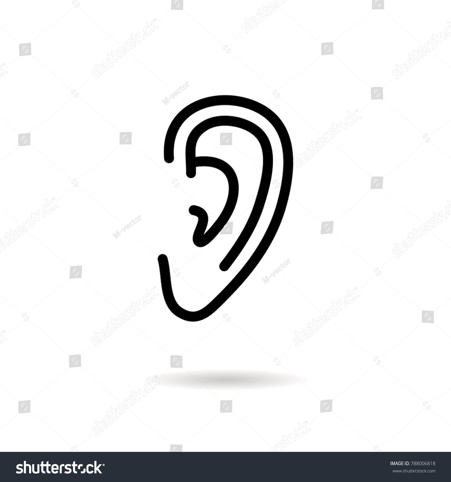 outline ear icon isolated on grey background hearing symbol for