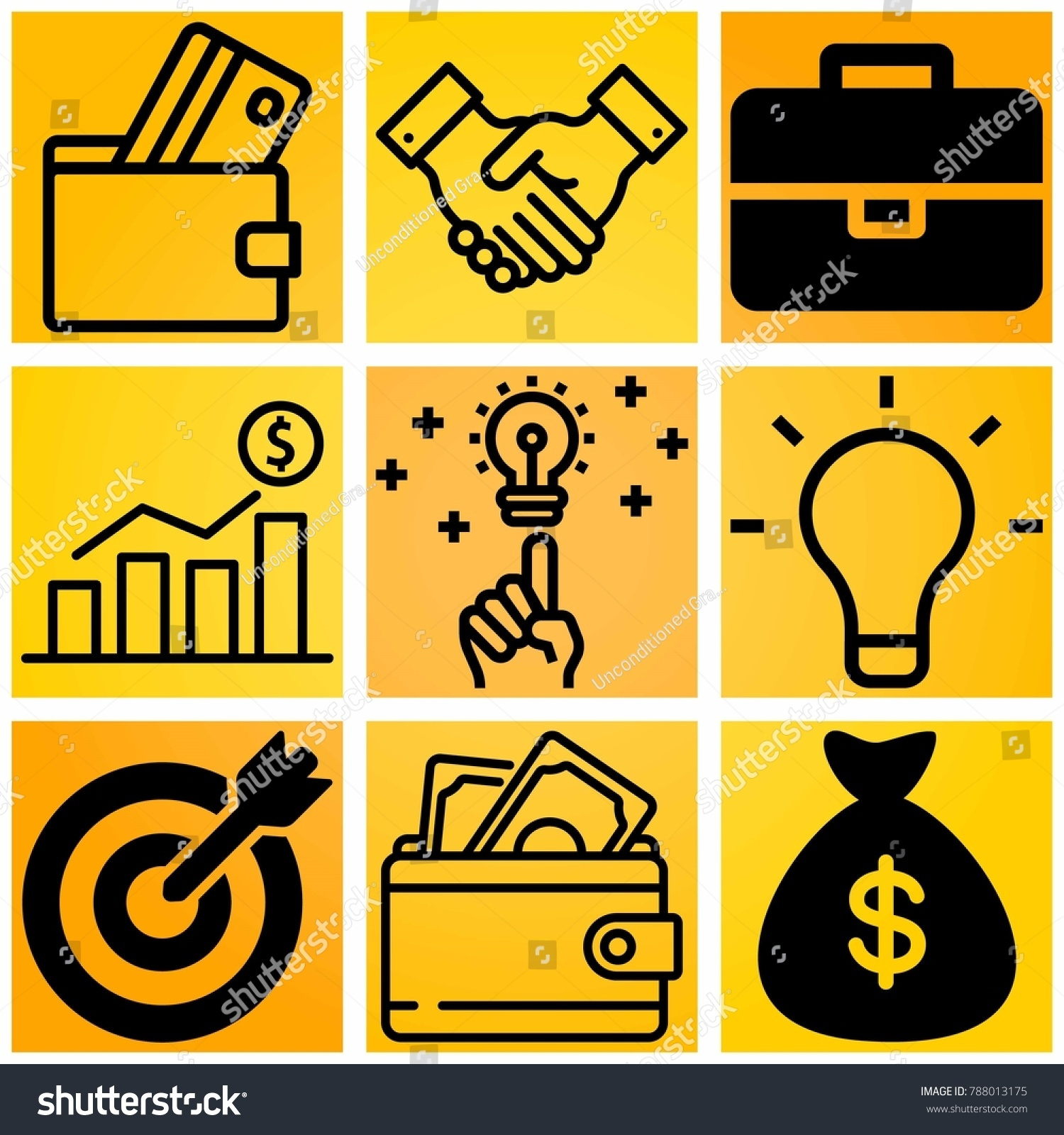 Business Vector Icon Set Consisting 9 Stock Vector 788013175 ...