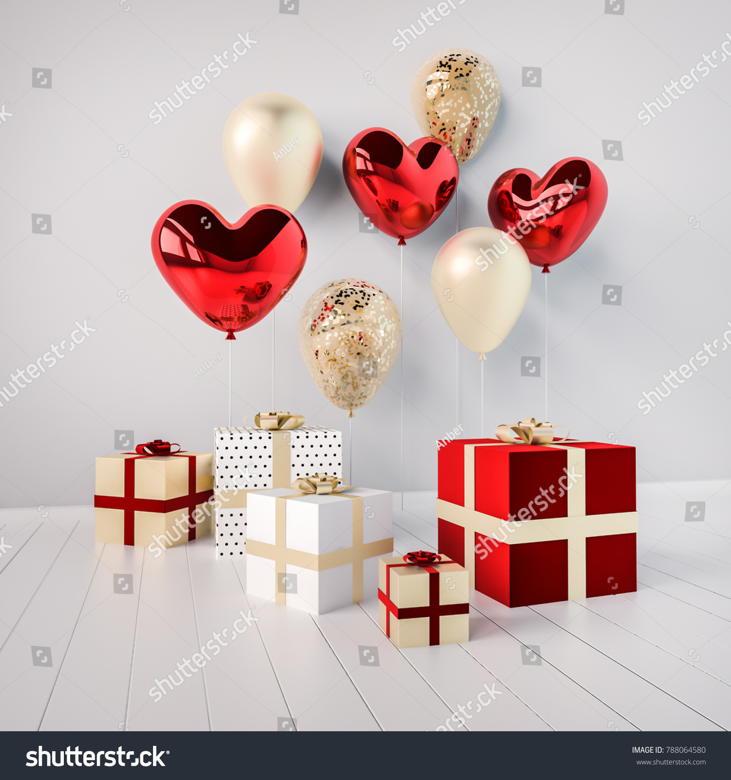 Gift Boxes Red Golden Glossy 3 D Stock Illustration 788064580 ...