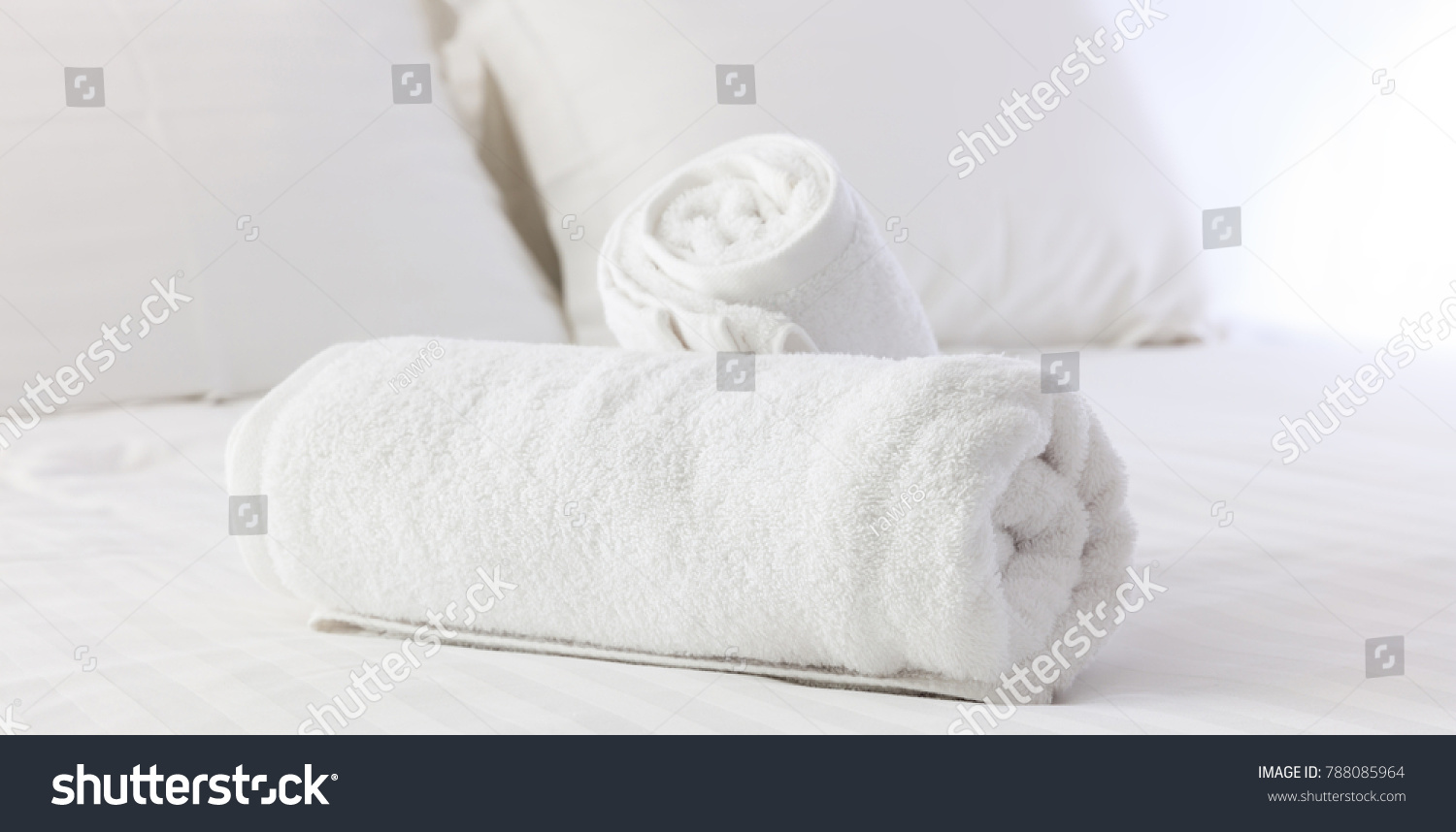Hotels Bedroom White Fluffy Rolled Towels Stock Photo Download Now