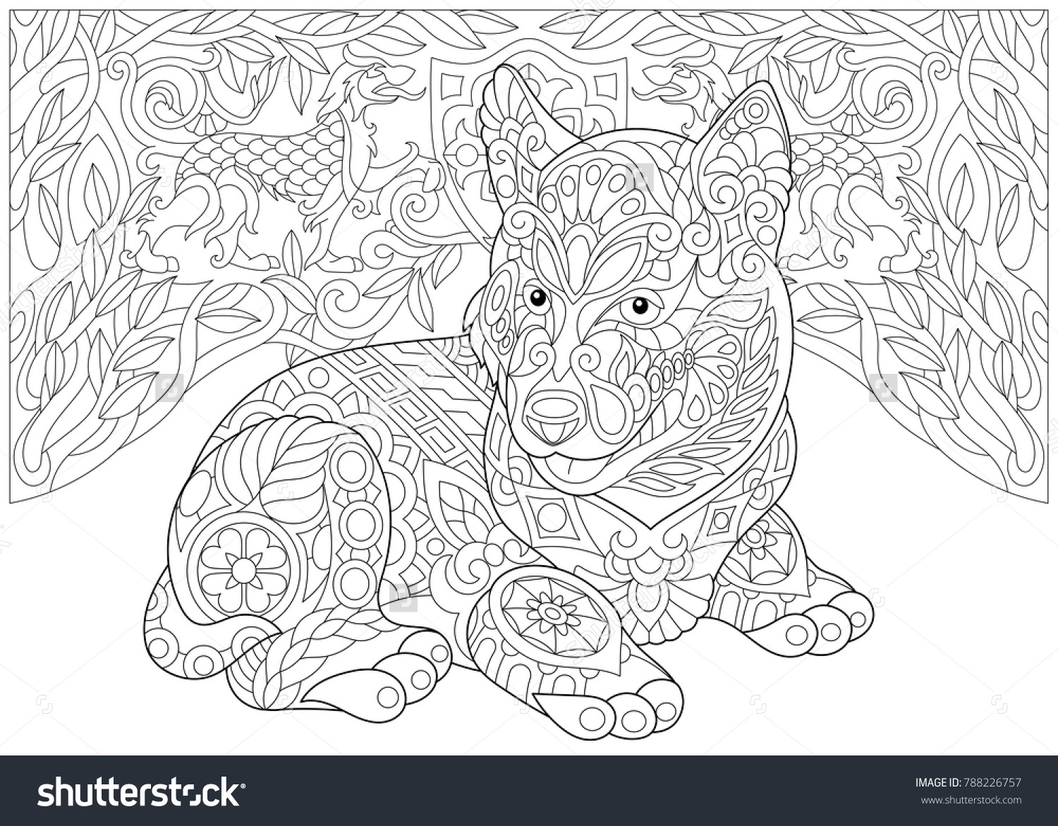 Coloring Page Adult Coloring Book Siberian Stock Vector (Royalty ...