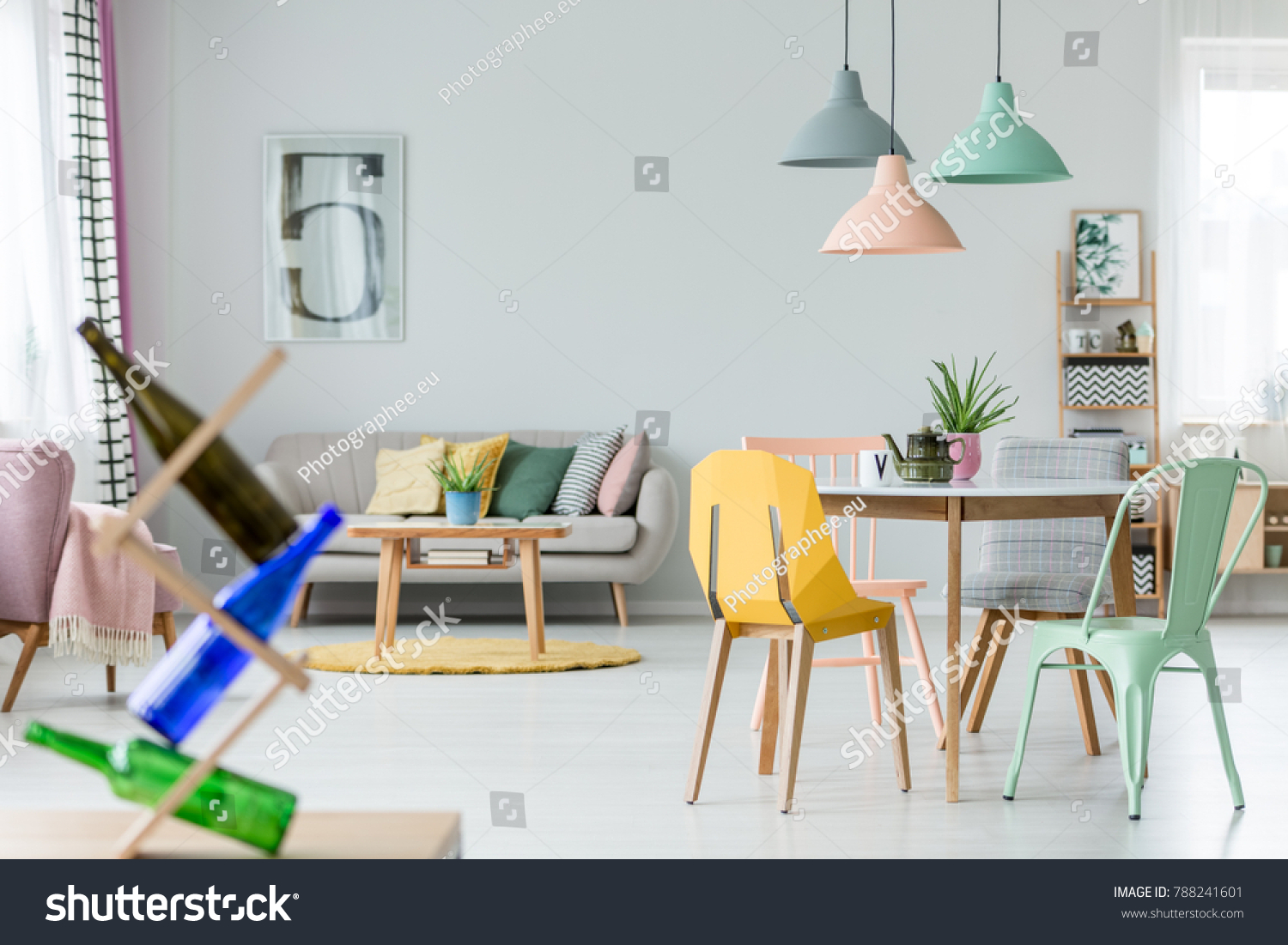 Mint Yellow Chair Table Kettle Under Stock Photo (100% Legal ...