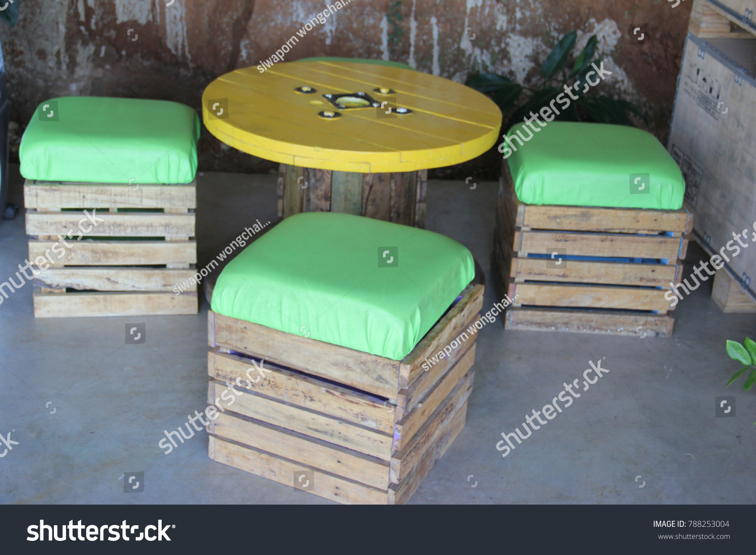Picture of: Wooden Crate Furniture Diy Chair Cushion Stock Photo Edit Now 788253004