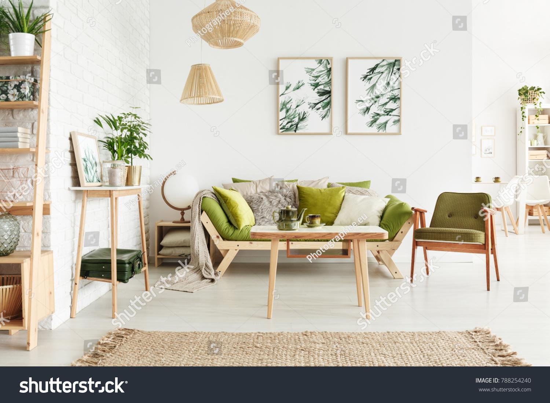 Dark Green Vintage Armchair Next Sofa Stock Photo (Safe to Use ...
