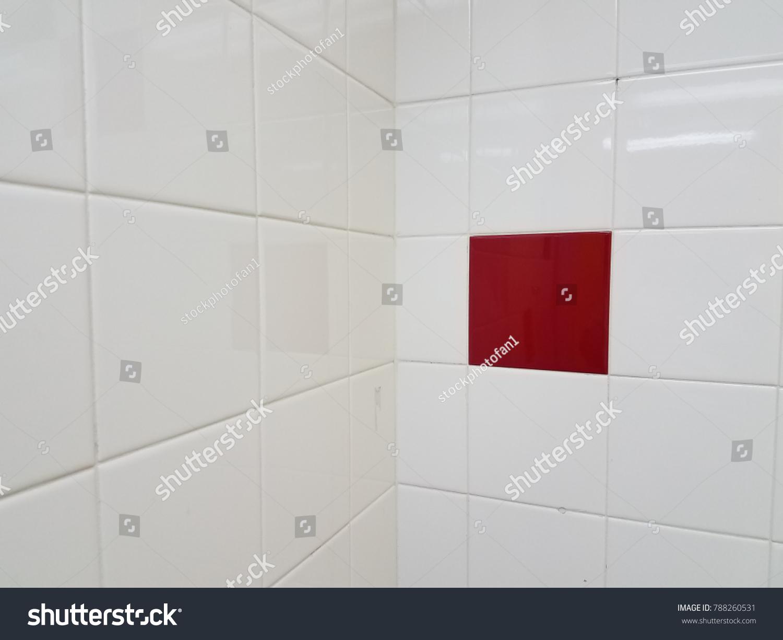 White Bathroom Tiles One Red Tile Stock Photo (Edit Now) 788260531 ...