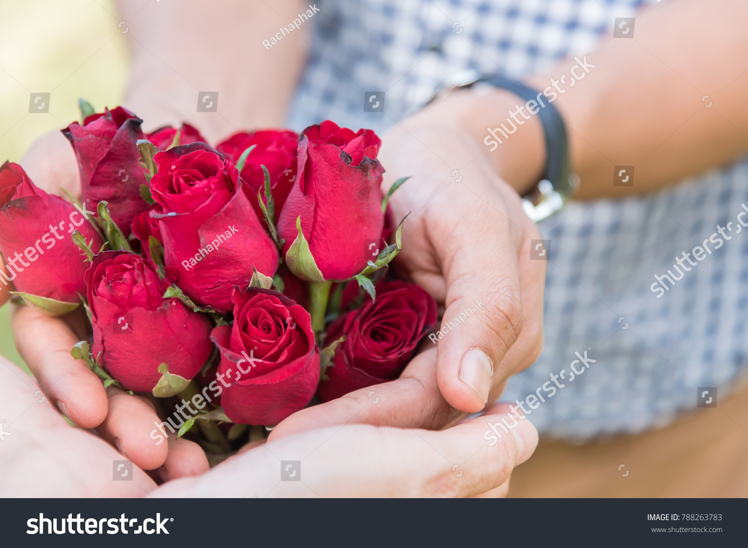 Man Holds Fresh Red Roses Offering Stock Photo Edit Now 788263783