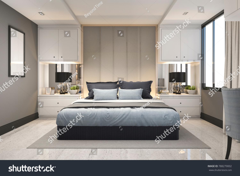 bedroom modern luxury. 3d Rendering Modern Luxury Blue Bedroom With Marble Decor