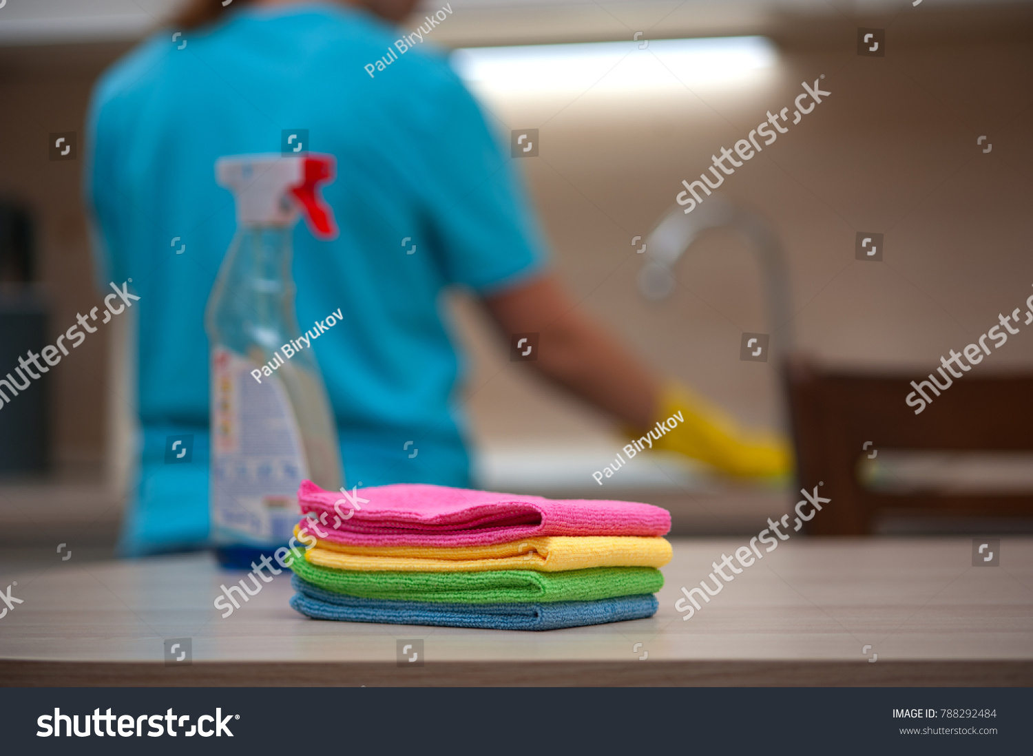 House Cleaning Stack Rags Cleaning Liquid Stock Photo (Royalty Free ...