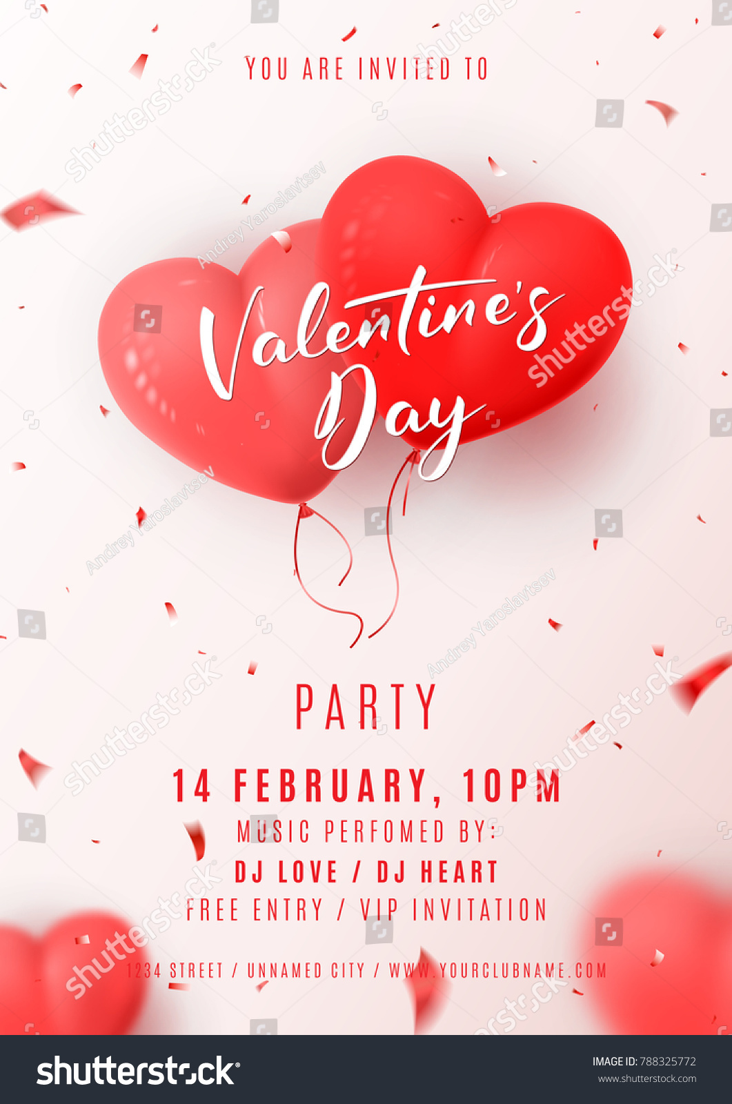 Happy Valentines Day Party Flyer Beautiful Stock Vector Royalty