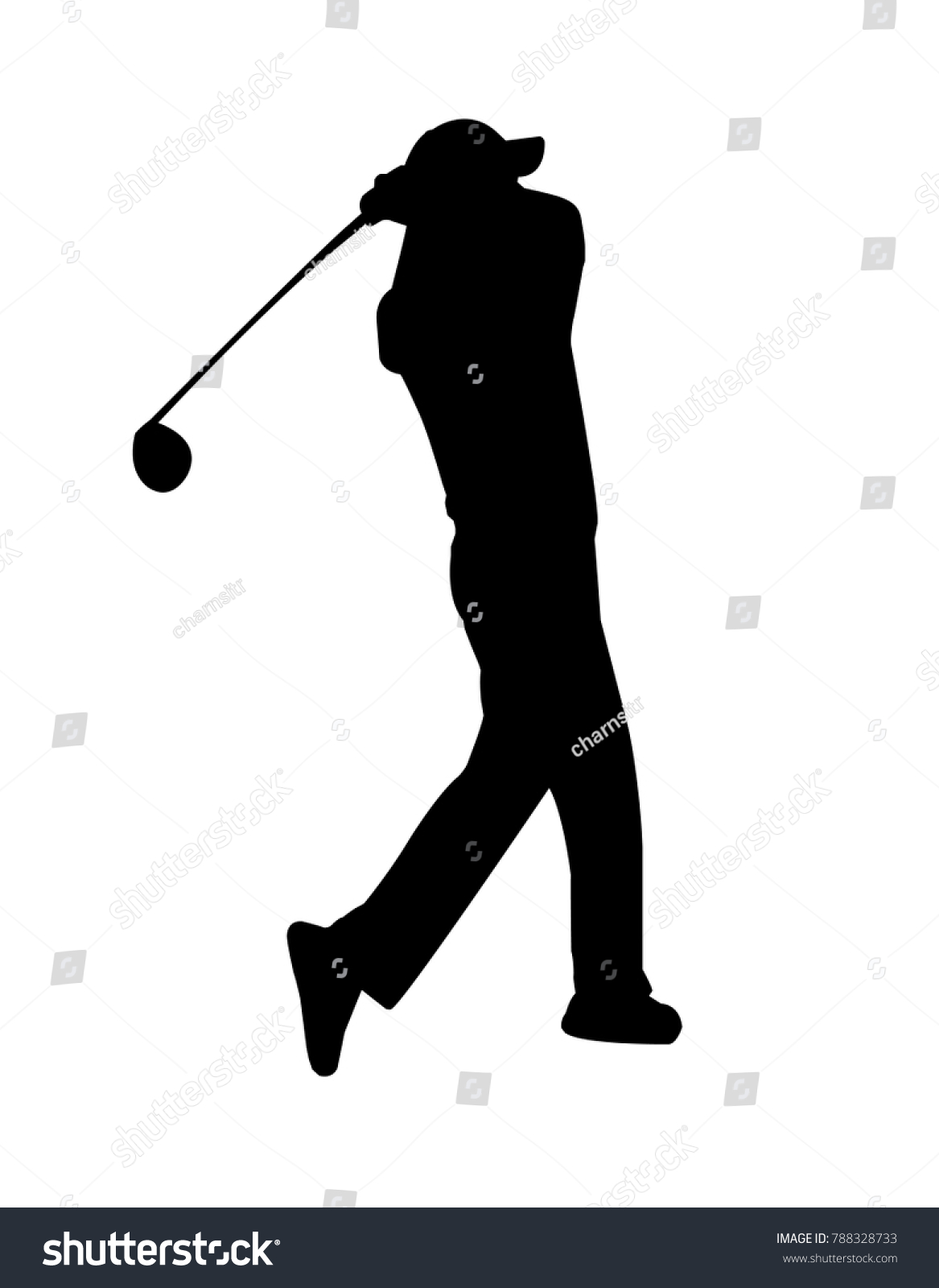 vector of silhouette golfer swing the club