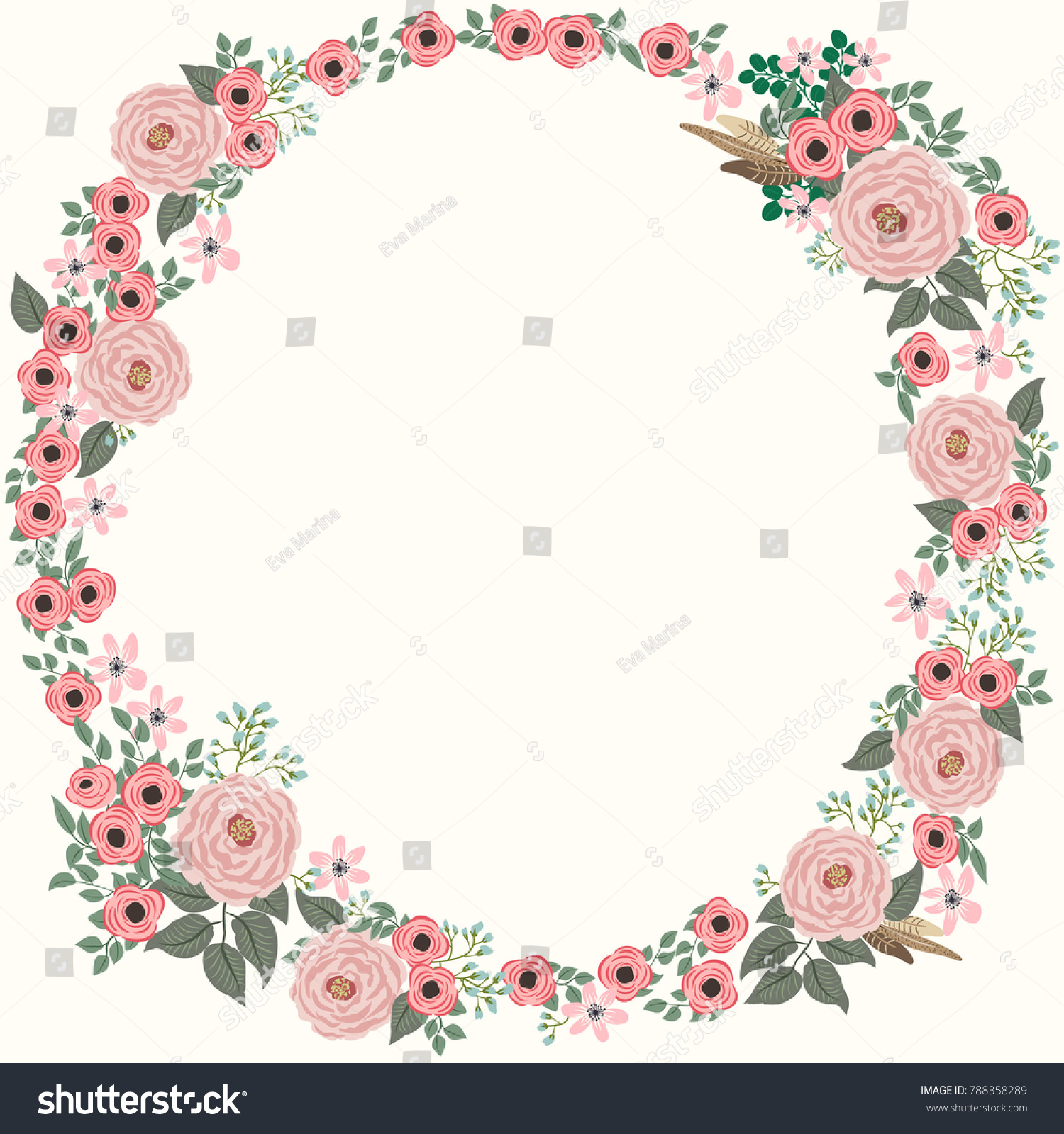 Floral round frame from cute flowers greeting card template design id 788358289 maxwellsz