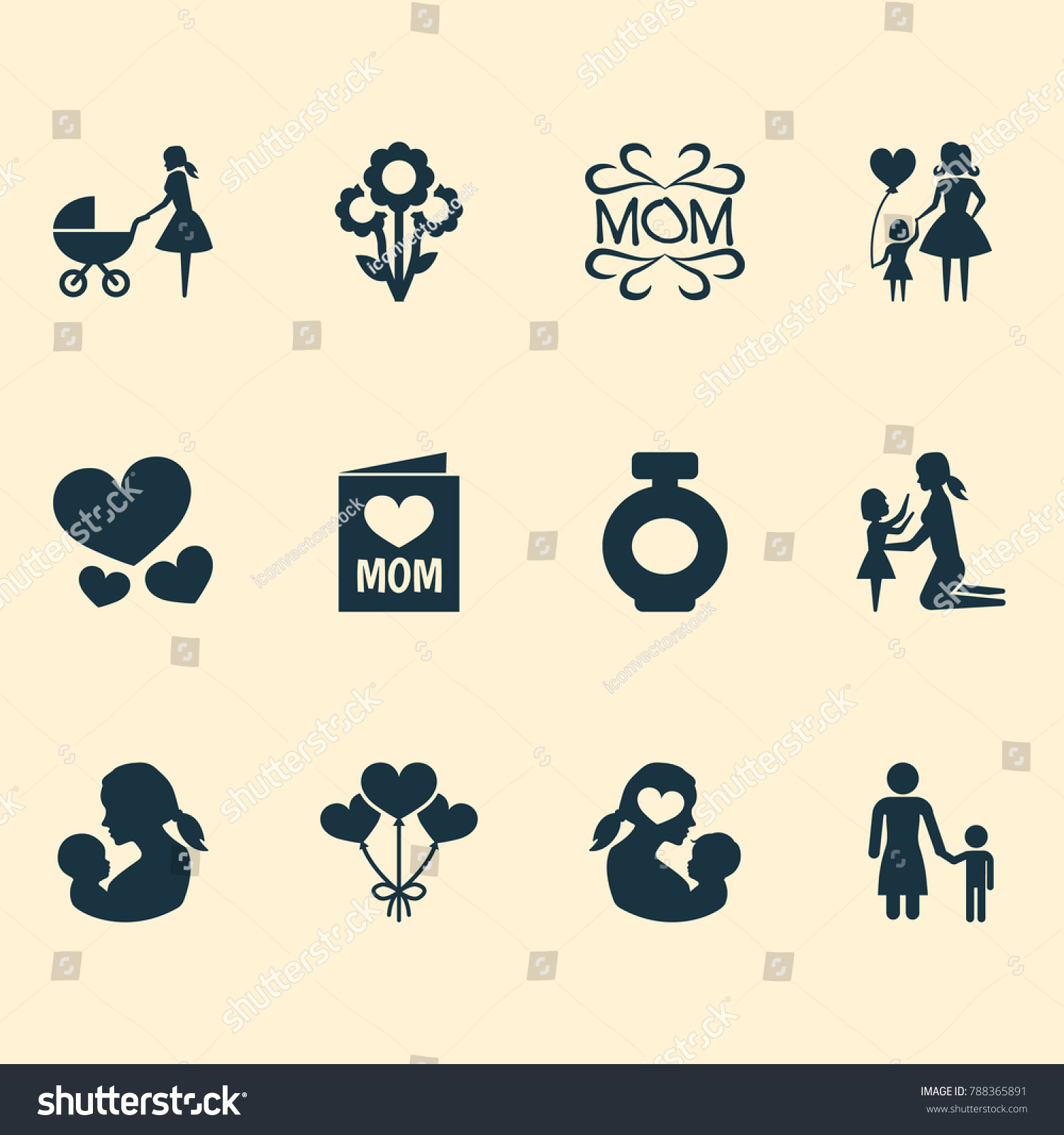 Mothers day icon design concept set stock vector 788365891 set of 12 such elements as mam heart and buycottarizona