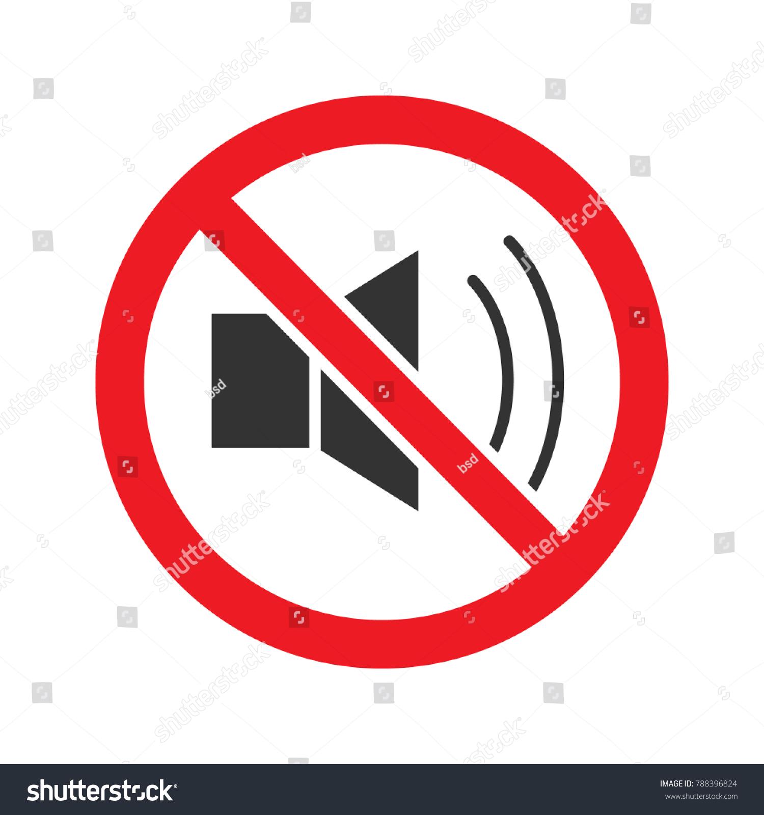 Forbidden Sign Loudspeaker Glyph Icon Stop Stock Illustration