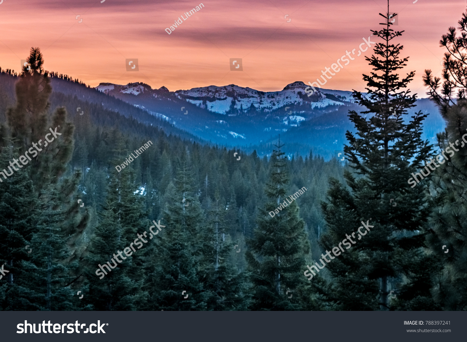Sunset in the Sierra Nevada Mountain range in early winter in Truckee, California, near Lake Tahoe and not far from Reno, Nevada, looking up toward Donner Summit (Donner Pass).
