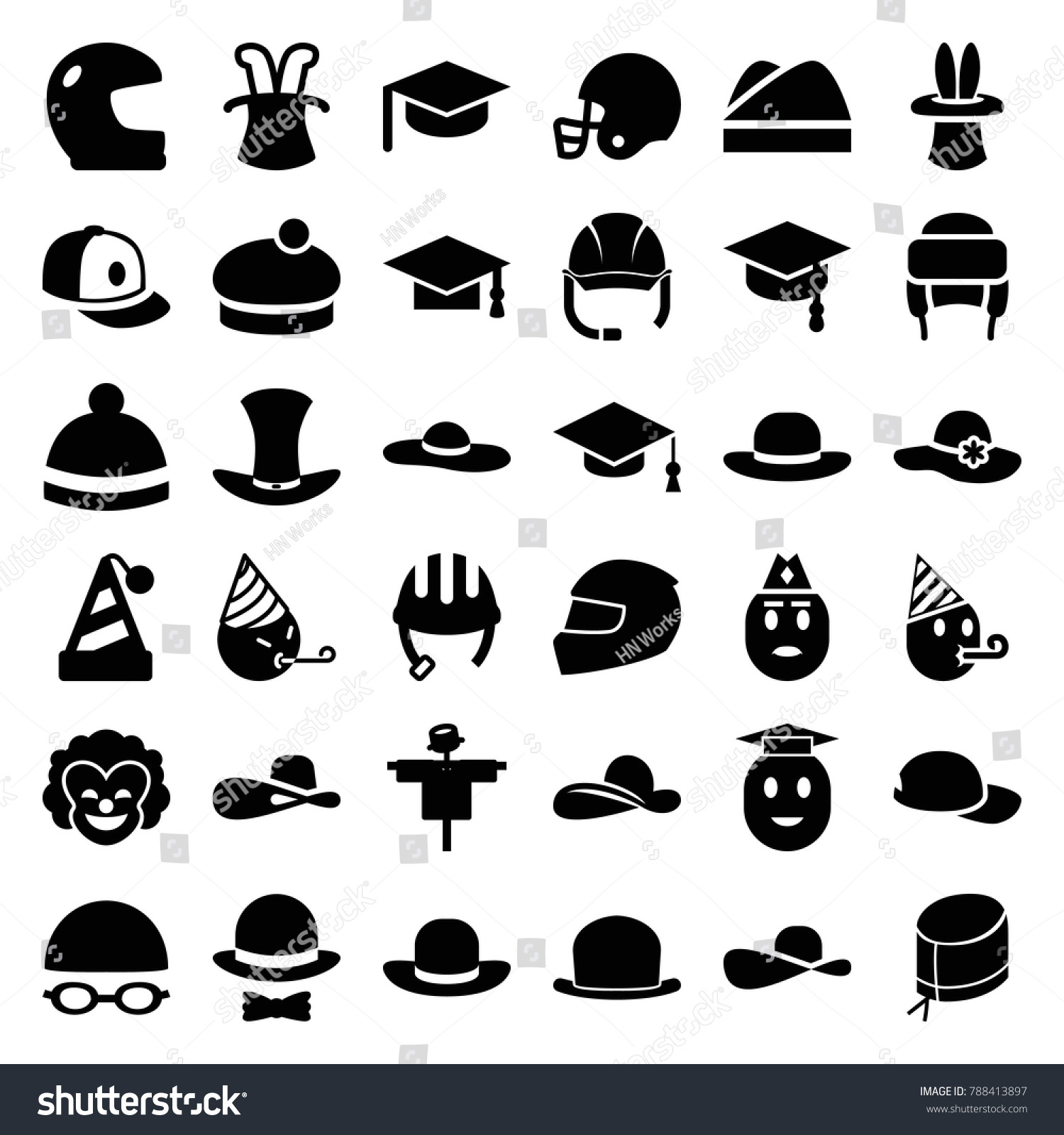 Hat Icons Set 36 Editable Filled Stock Vector Royalty Free