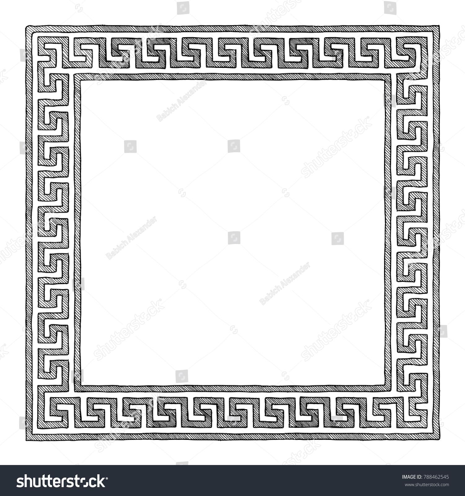 Frame traditional ancient greek border meander stock vector frame with traditional ancient greek border meander illustration in vintage engraving style jeuxipadfo Gallery