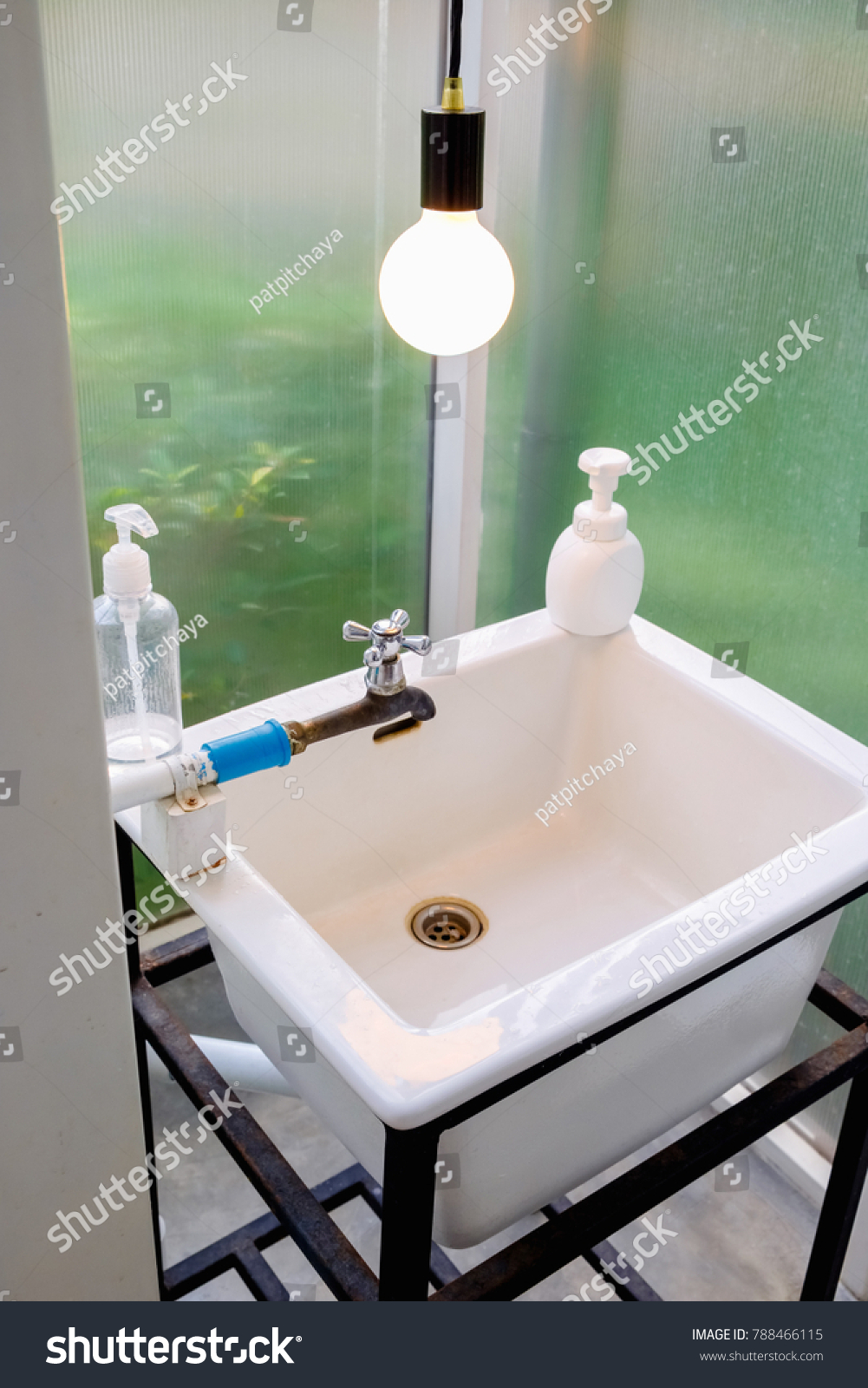 Hand Washing White Basin Bathroom Used Stock Photo (Safe to Use ...