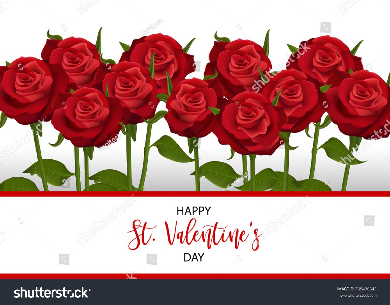 Love Flower Bouquet Valentines Banner Frame Stock Vector Royalty