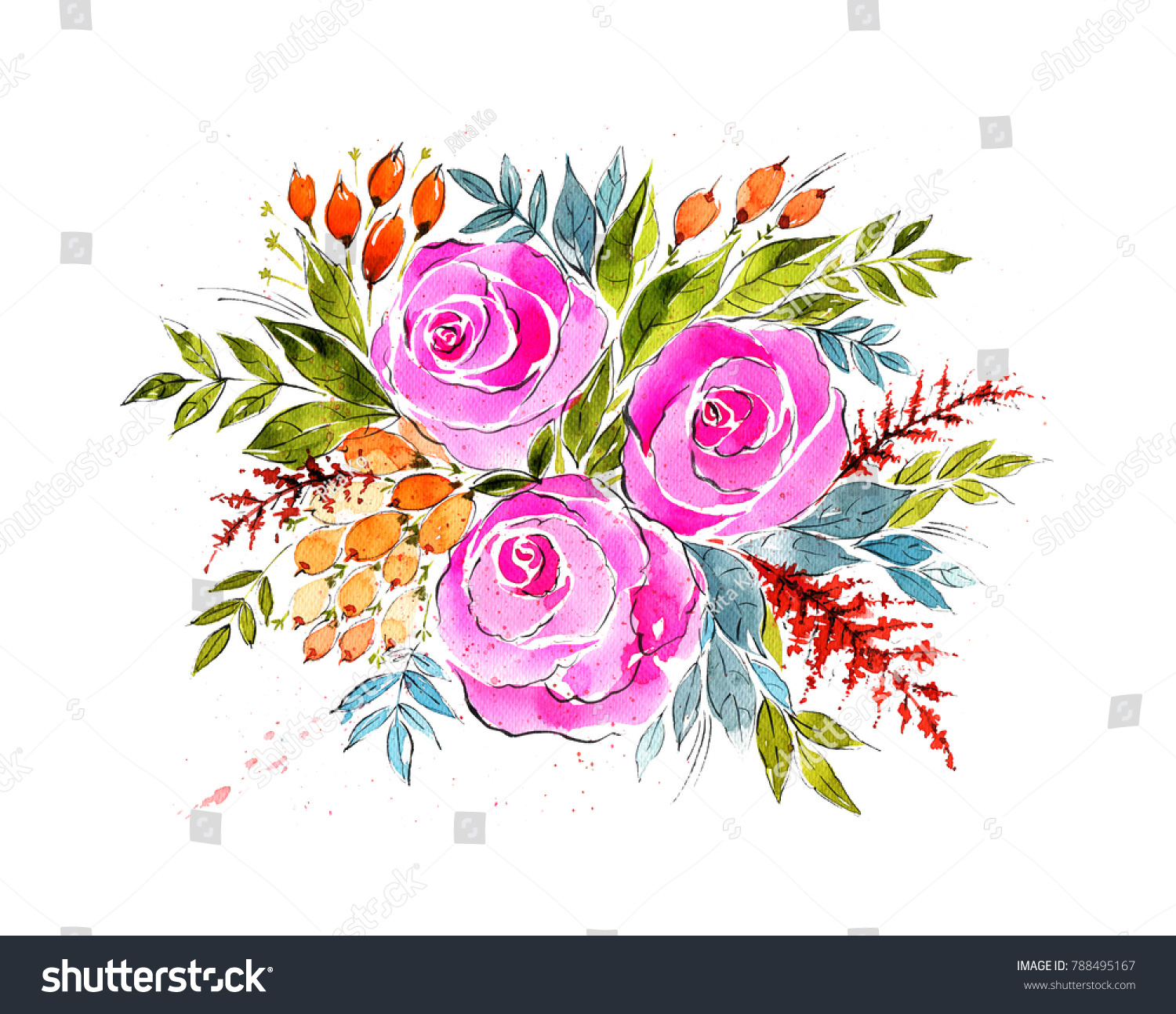 Watercolor Gorgeous Bouquet Roses Leaves Flowers Stock Illustration ...