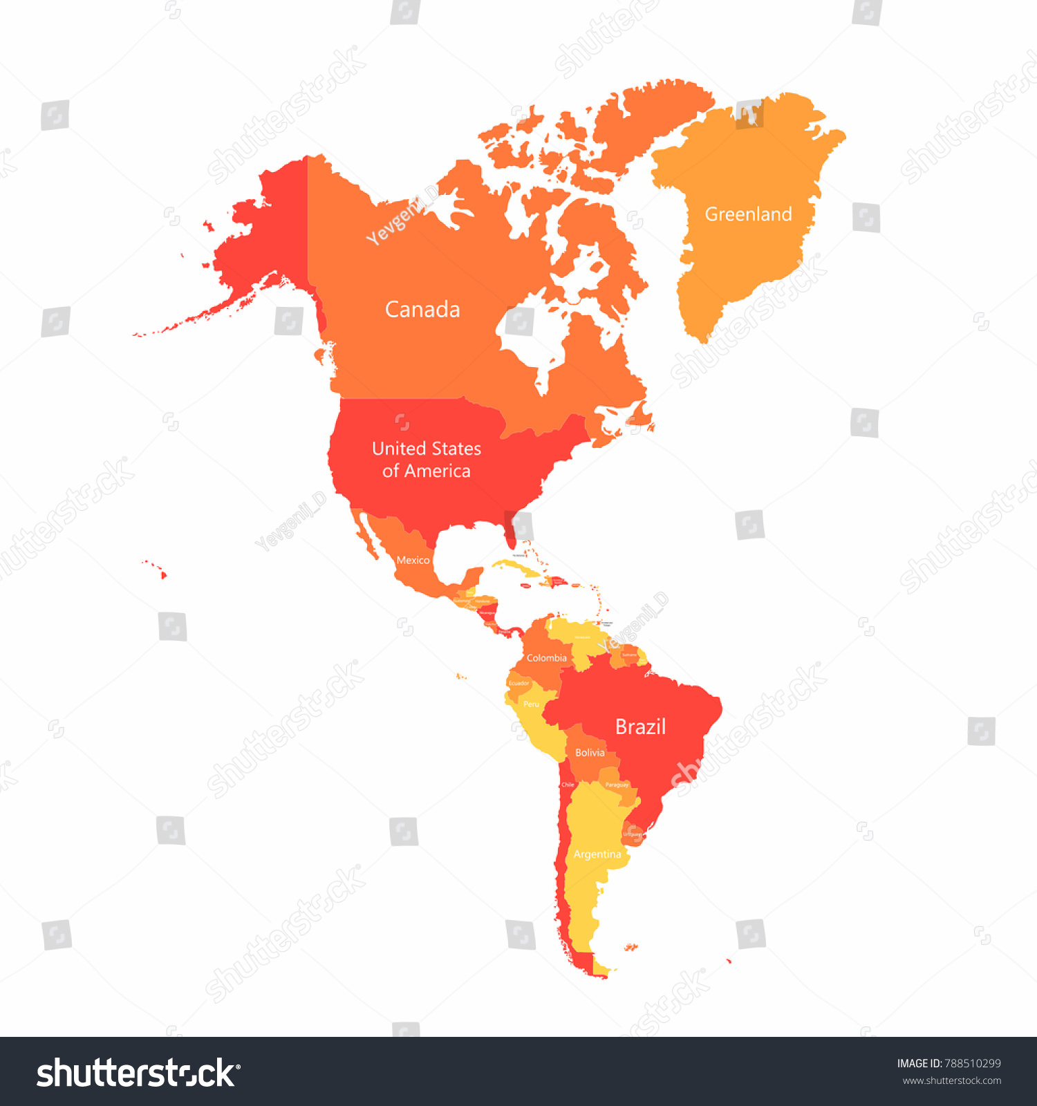 Vector South America North America Map Stock Vector (Royalty Free ...
