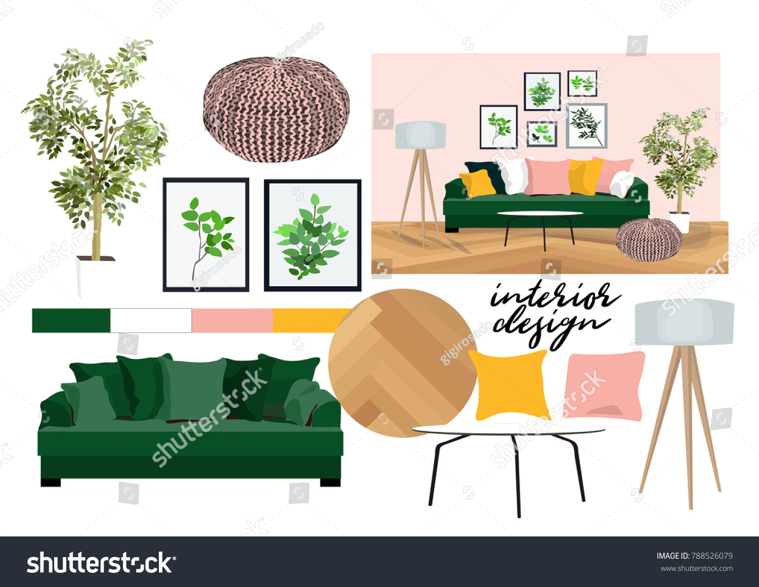 vector interior design illustration furniture collection stock