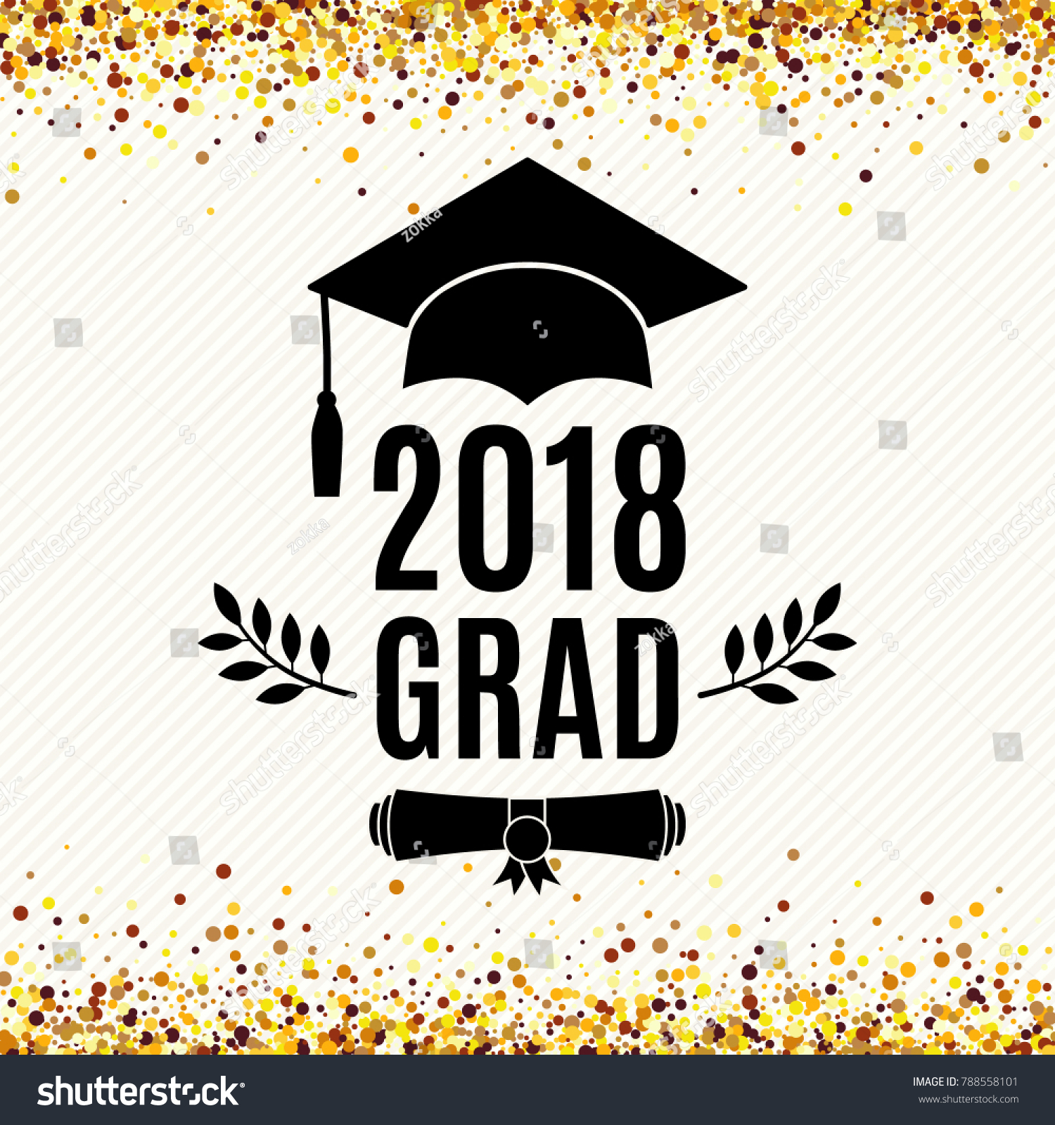 Graduate 2018 Class Greeting Card Hat Stock Vector Royalty Free