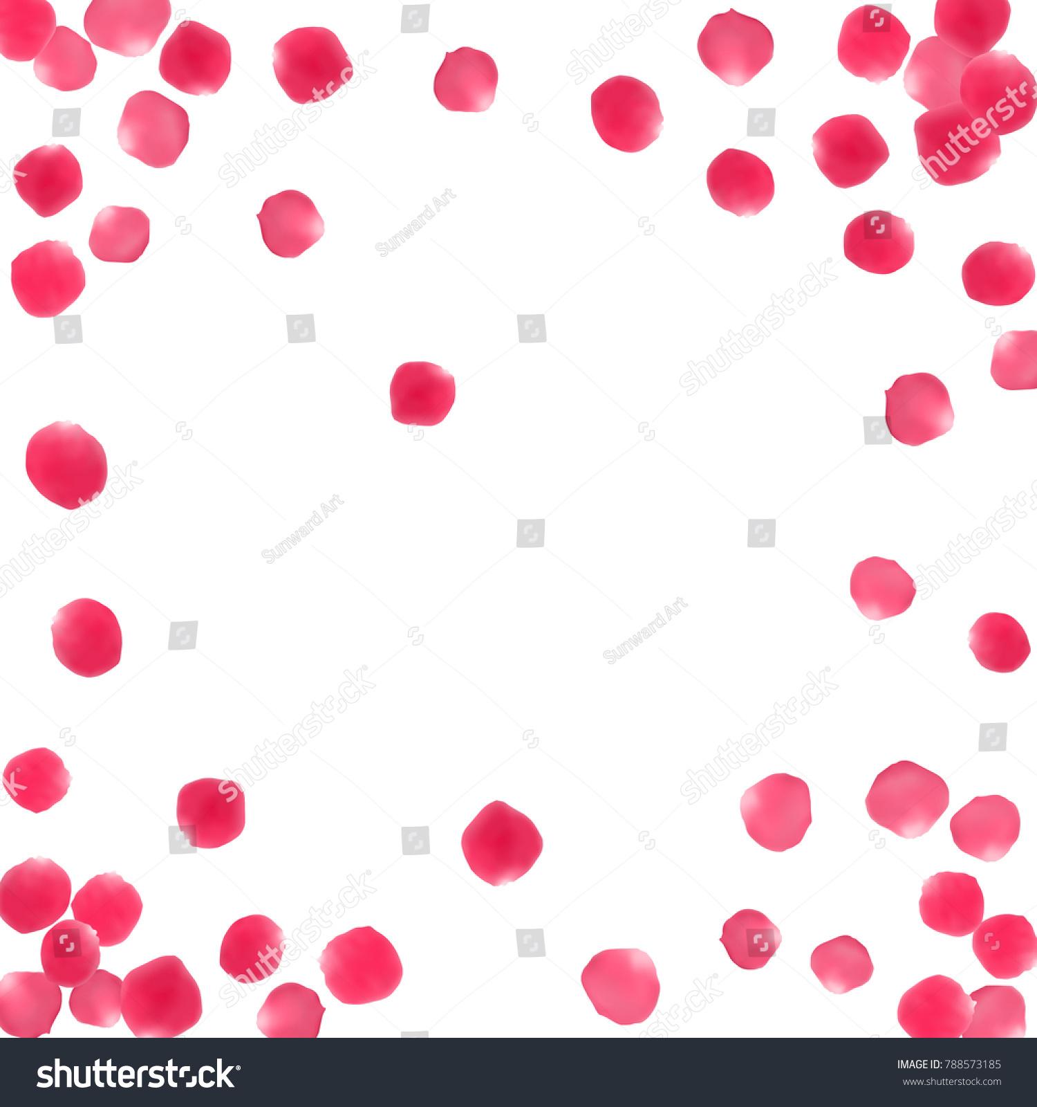 Rose Petals Border Valentines Day Card Stock Vector 788573185