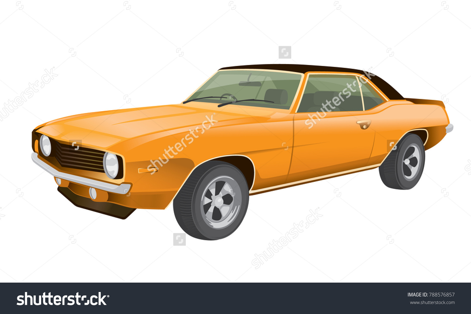 Classic American Muscle Car Vector Illustration Stock Vector ...