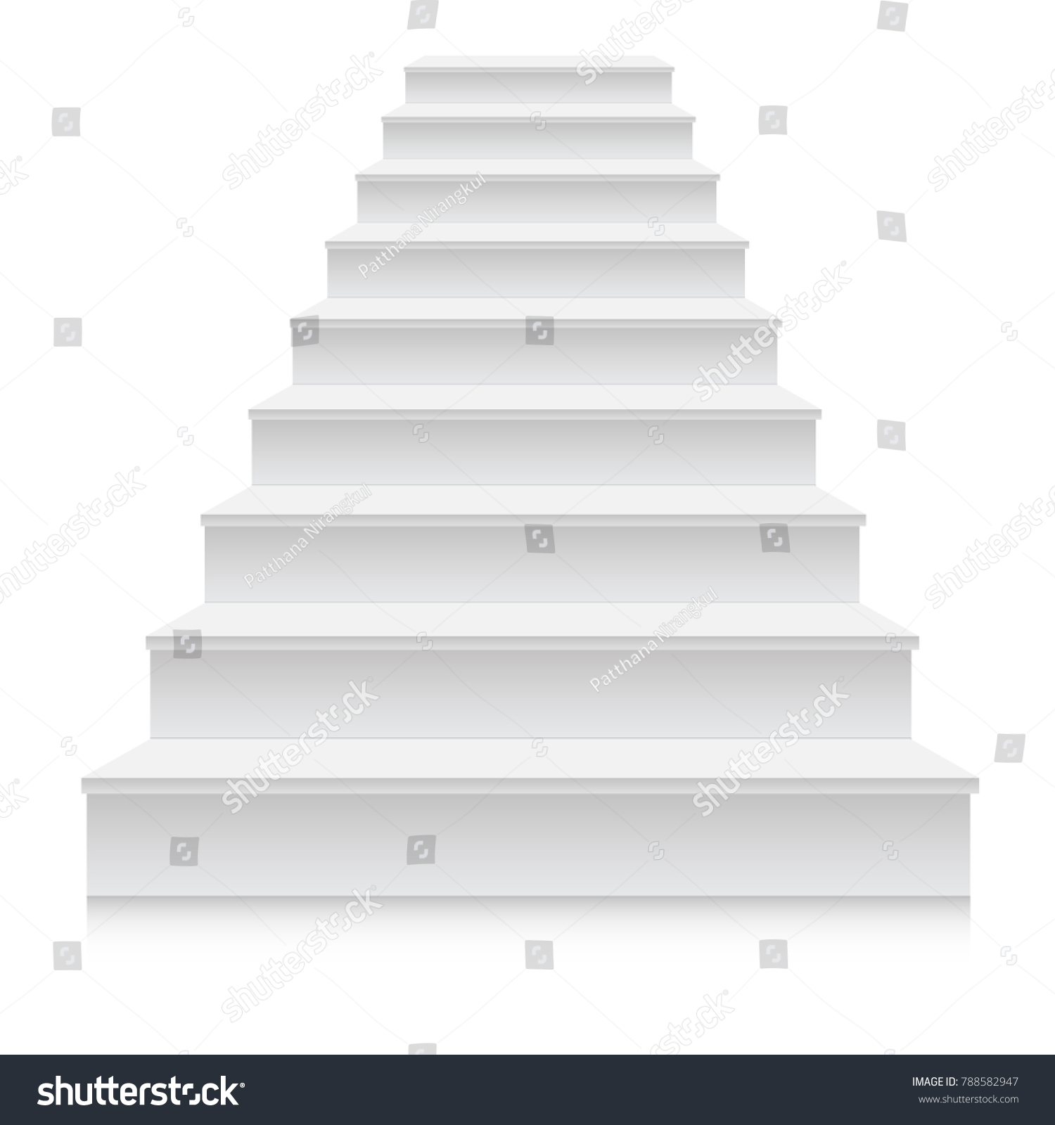 White Stair Template Front View 3d Stock Vector (Royalty Free) 788582947