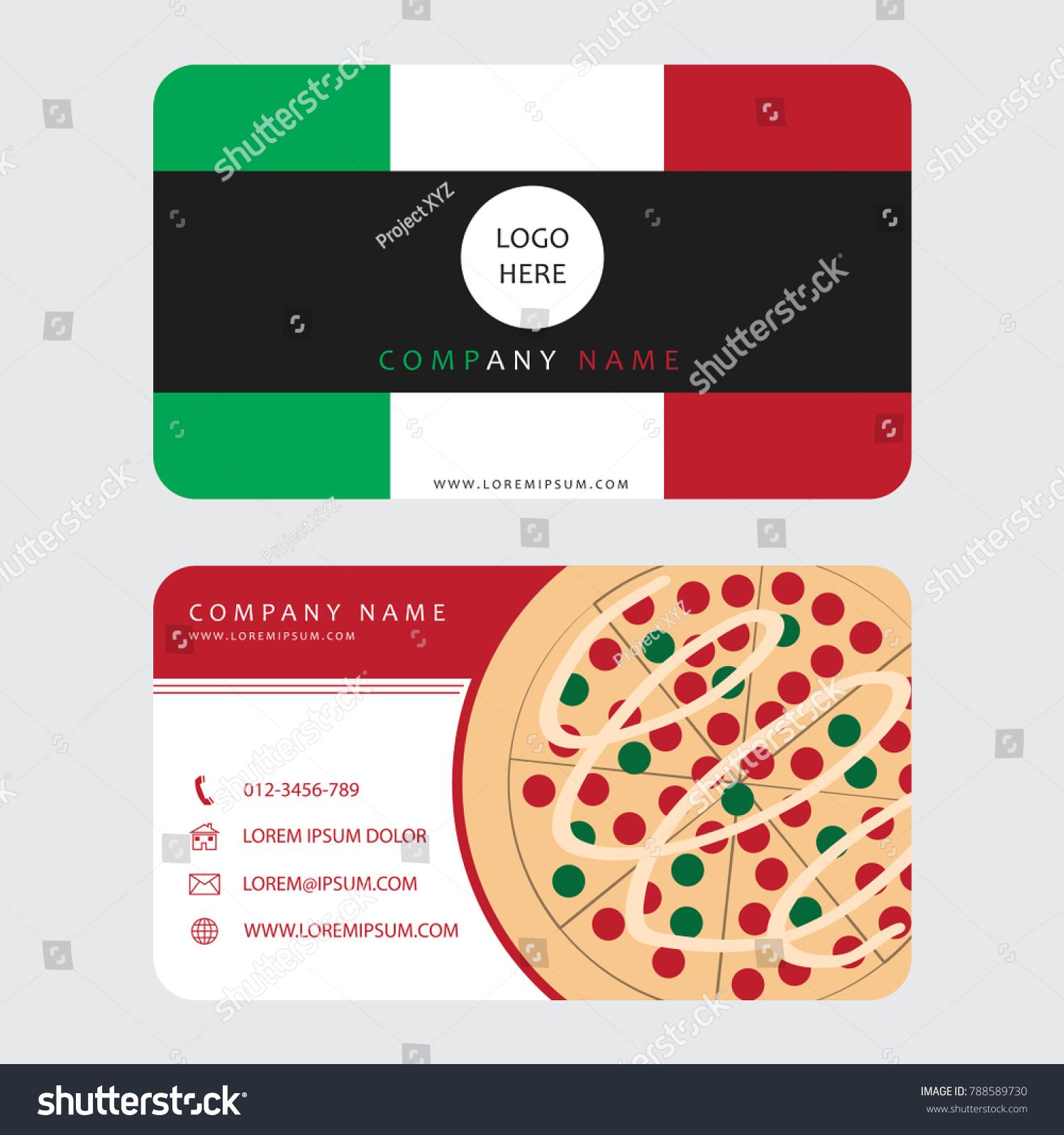Business Card Pizza Restaurant Decorated Italian Stock Vector ...