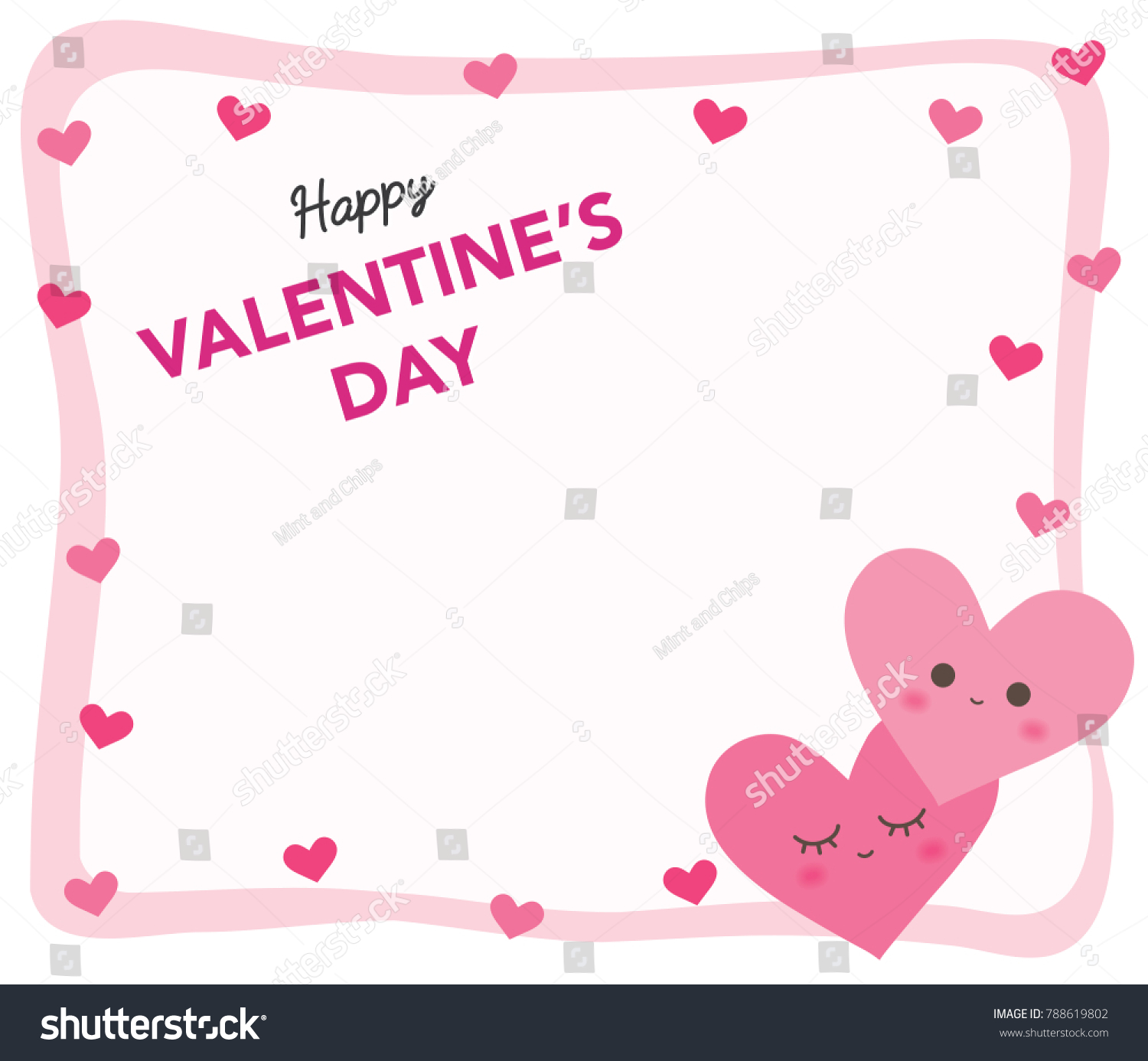 Cute Heart Frame Pink Valentines Day Stock Vector 788619802 ...