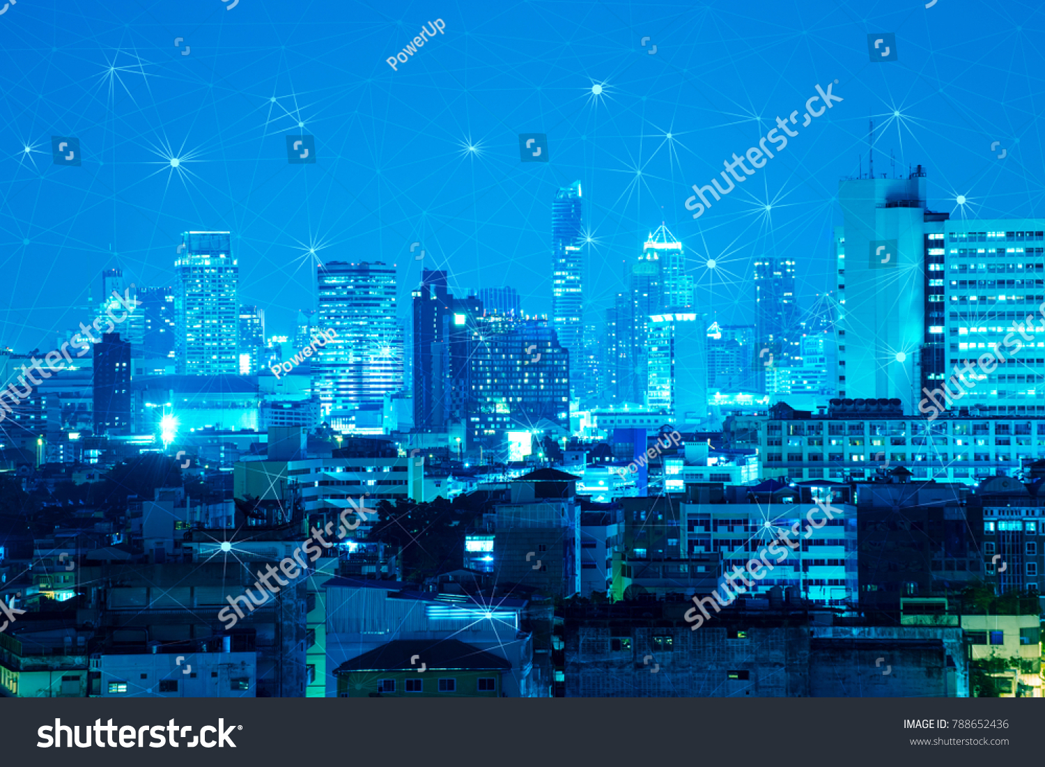 abstract dot and line connection look like the star over night city ...